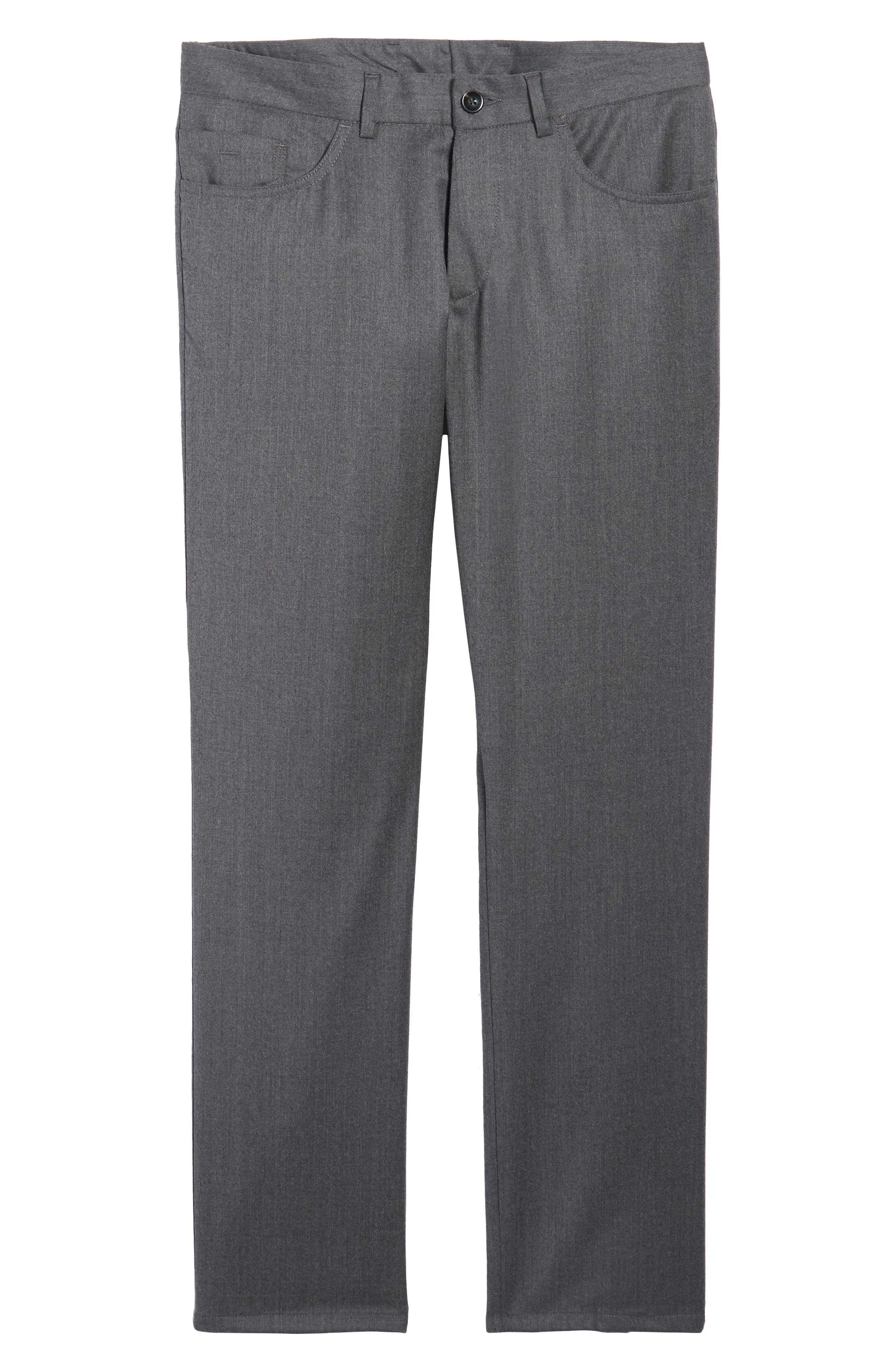 Flat Front Solid Stretch Wool Trousers,                             Alternate thumbnail 6, color,                             020