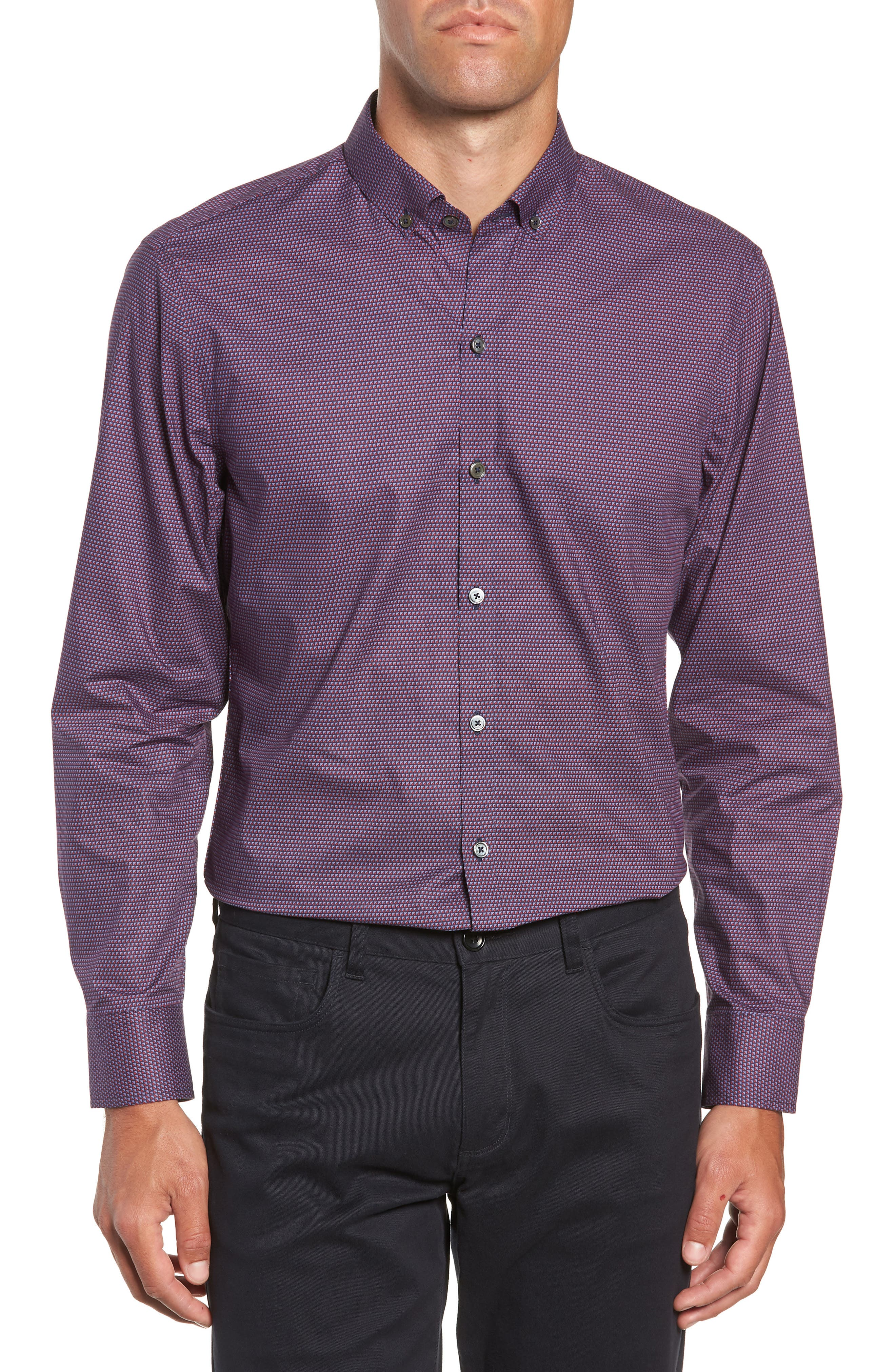Samir Regular Fit Print Sport Shirt,                         Main,                         color, RED