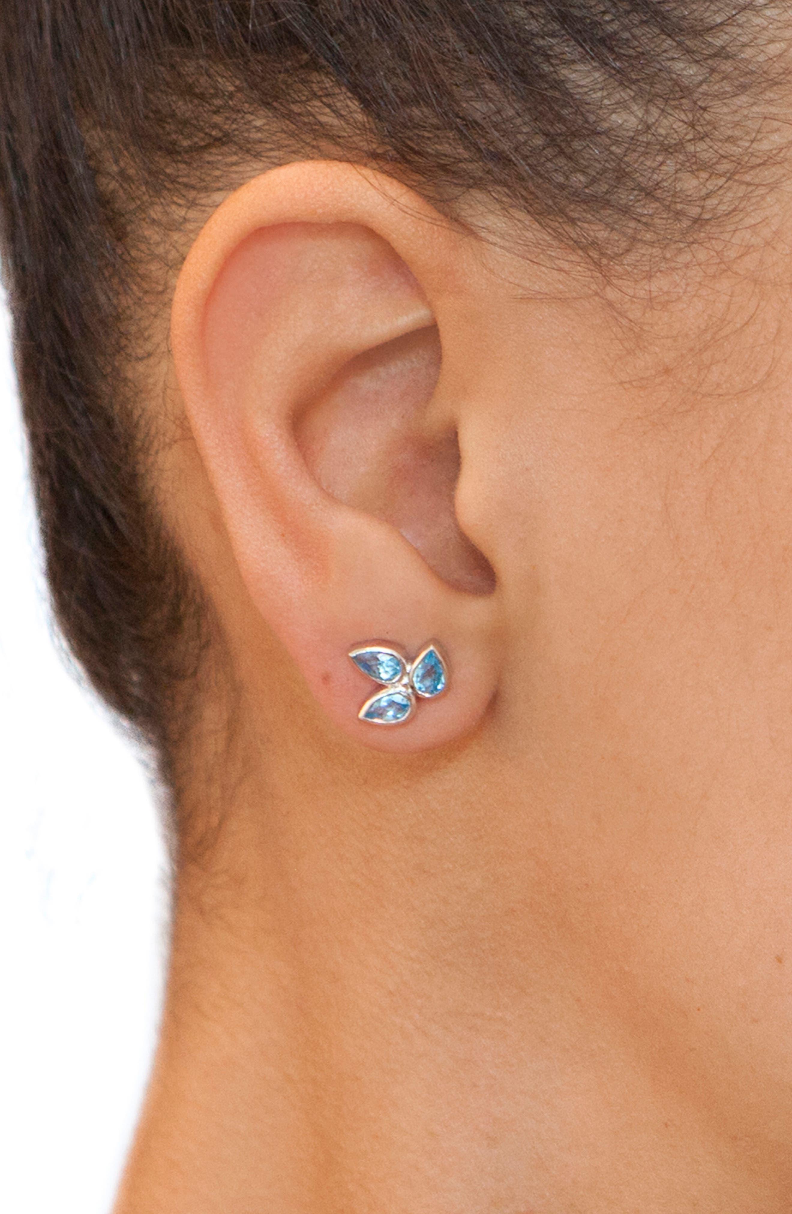 ANZIE,                             Micro Bouquet White Topaz Post Earrings,                             Alternate thumbnail 3, color,                             BLUE TOPAZ