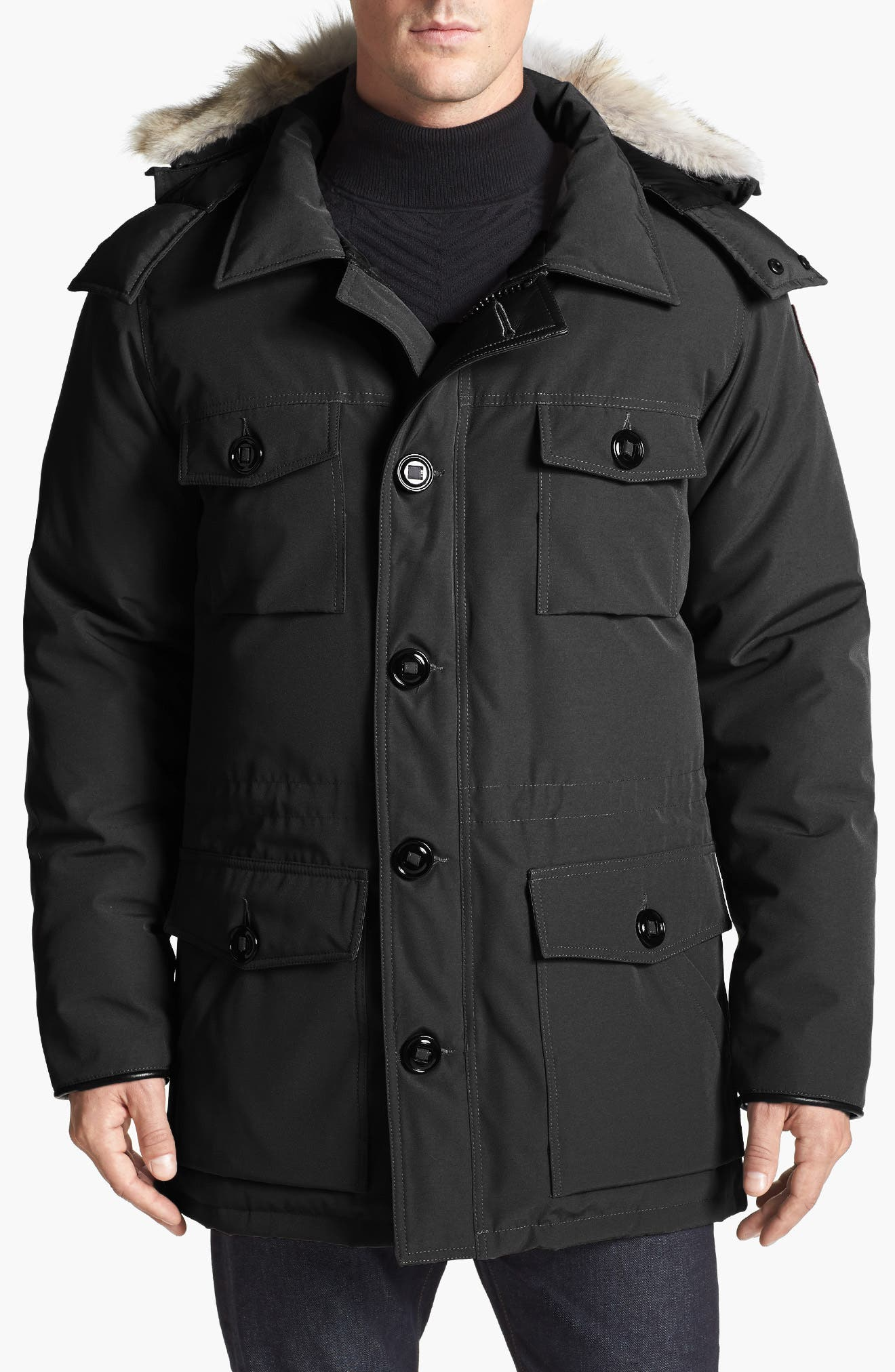 CANADA GOOSE,                             'Banff' Parka with Genuine Coyote Fur Trim,                             Main thumbnail 1, color,                             001