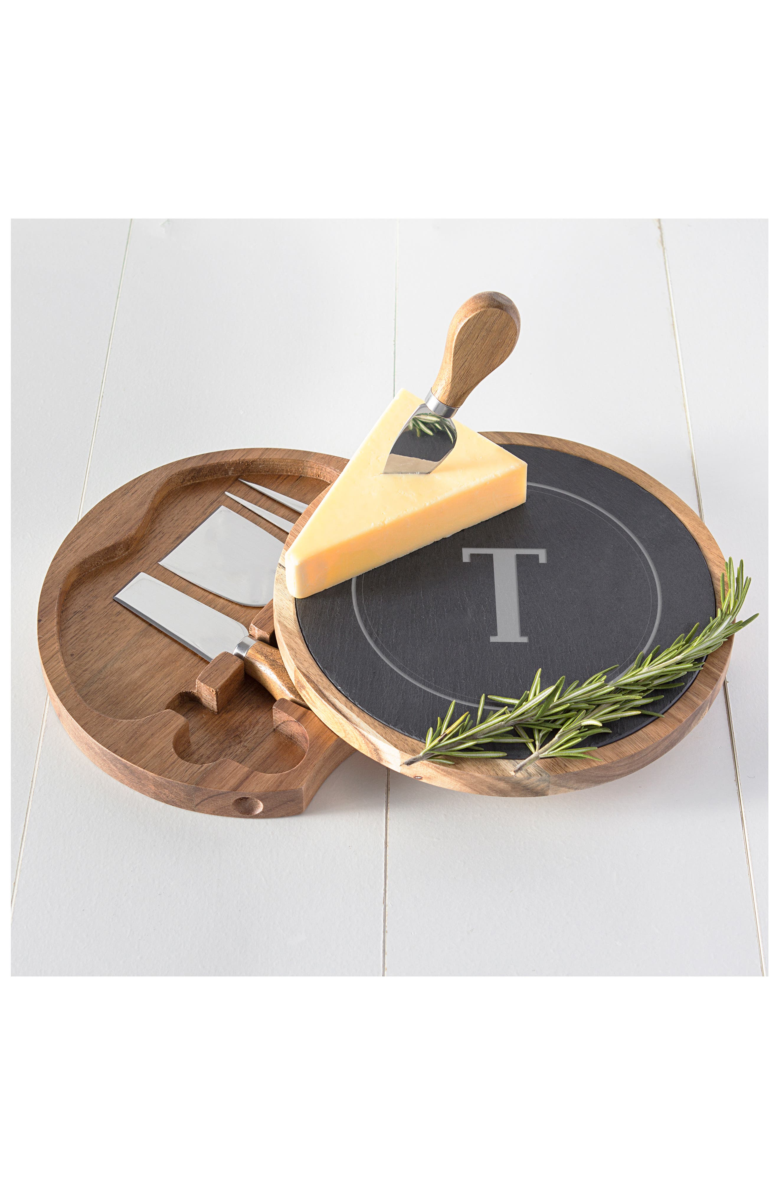 Monogram 5-Piece Cheese Board & Utensil Set,                             Alternate thumbnail 5, color,                             BROWN