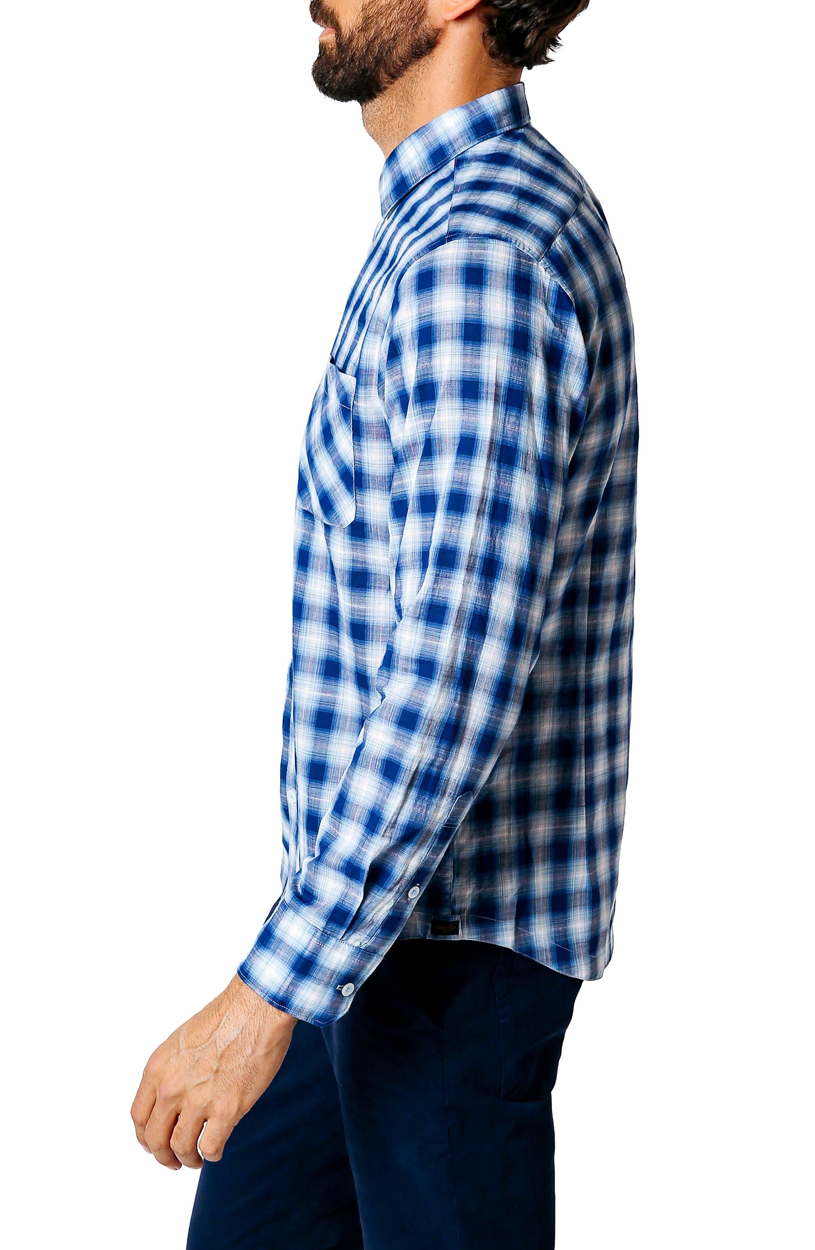 Trim Fit Plaid Sport Shirt,                             Alternate thumbnail 3, color,                             401