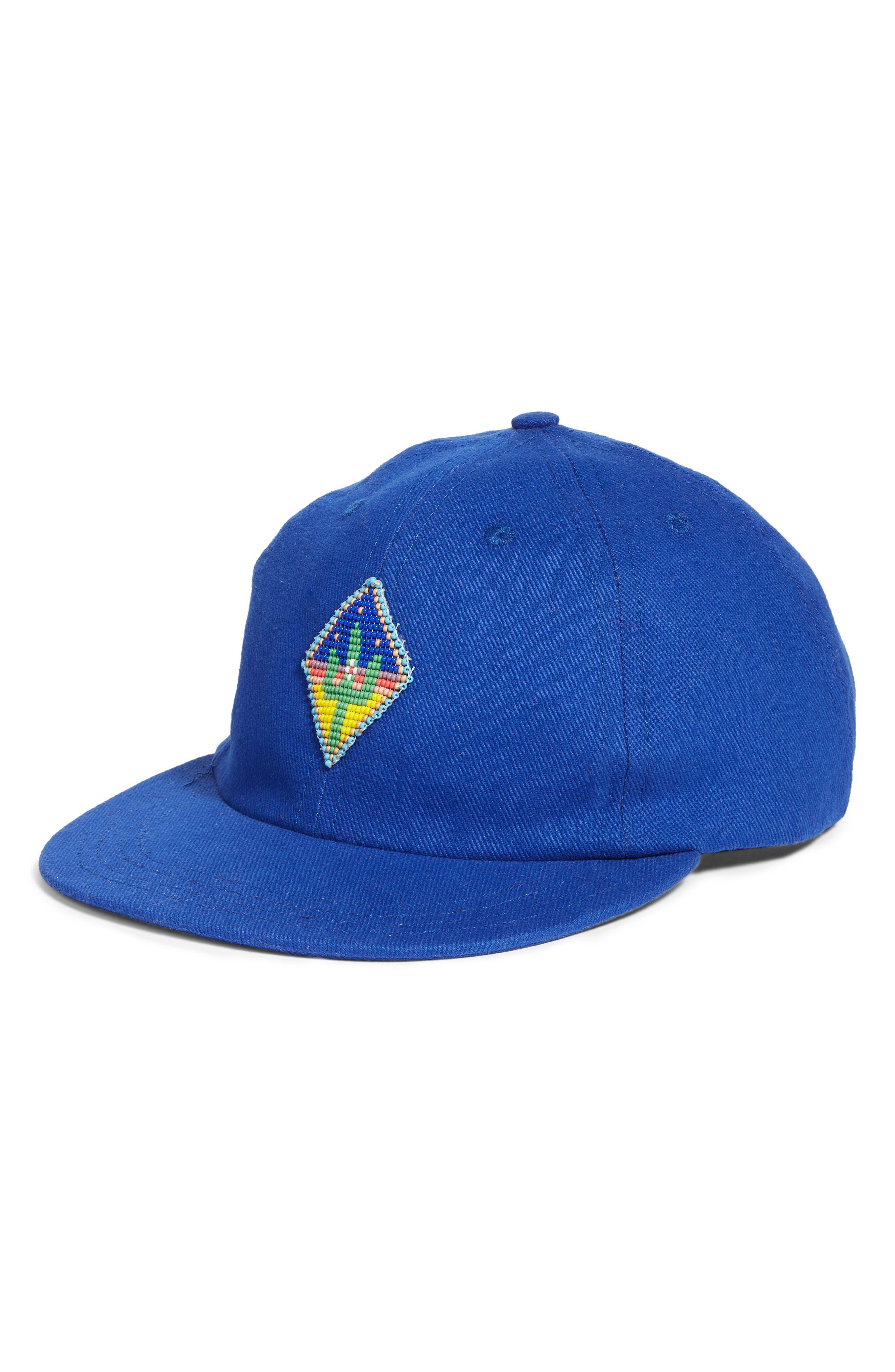 Beaded Cactus Baseball Hat,                         Main,                         color, BLUE