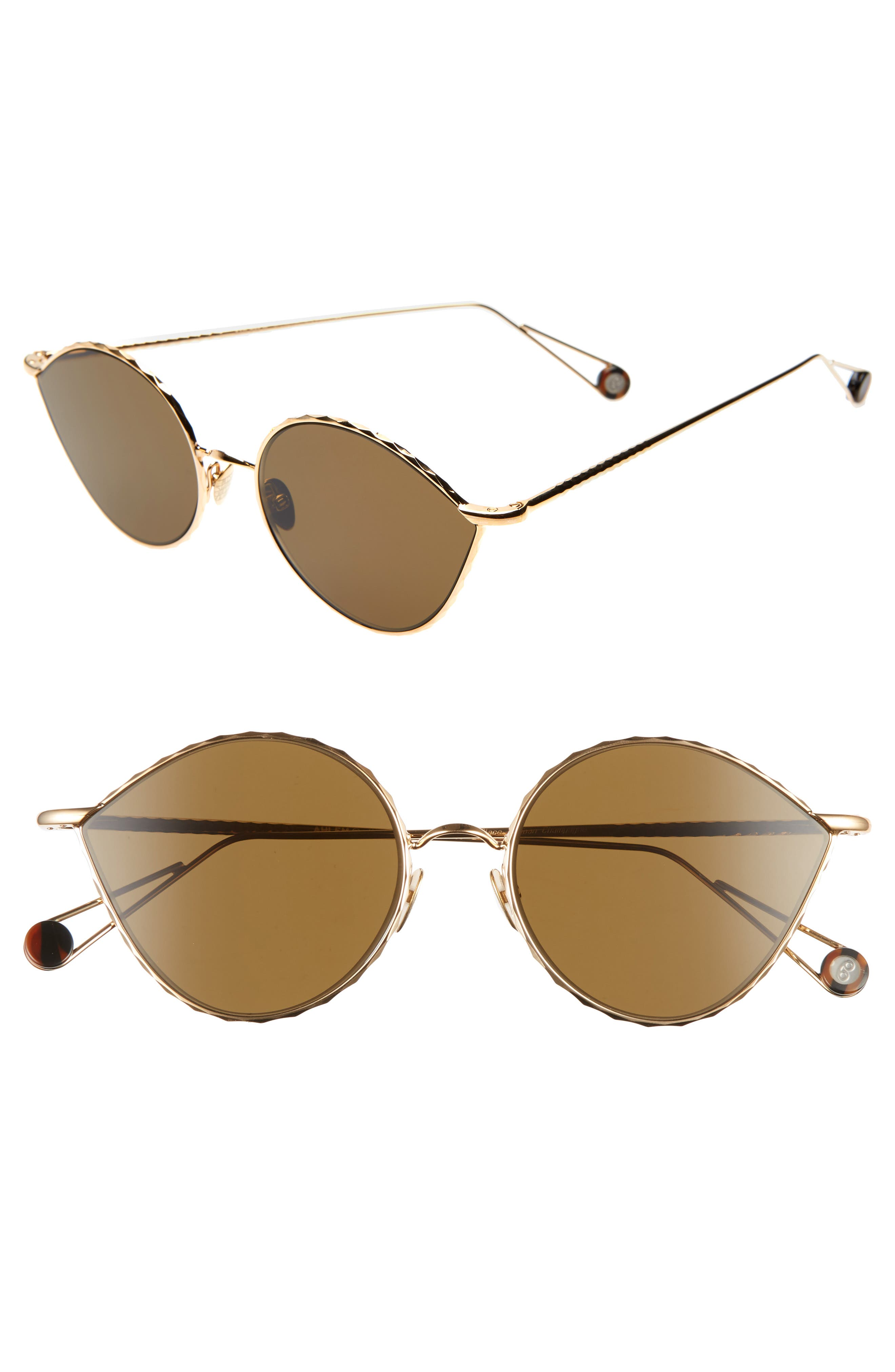 AHLEM Place Vauban 52Mm Cat Eye Sunglasses - Yellow Gold