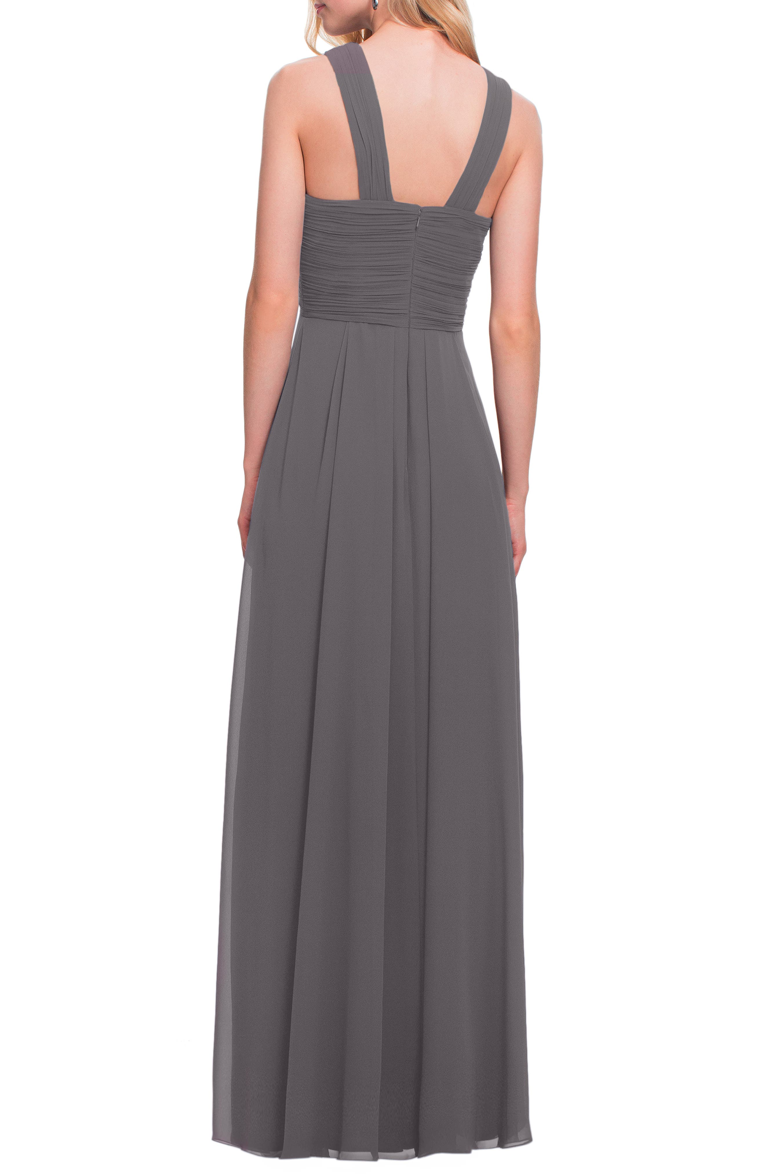 Crisscross Bodice Chiffon Gown,                             Alternate thumbnail 2, color,                             PEWTER