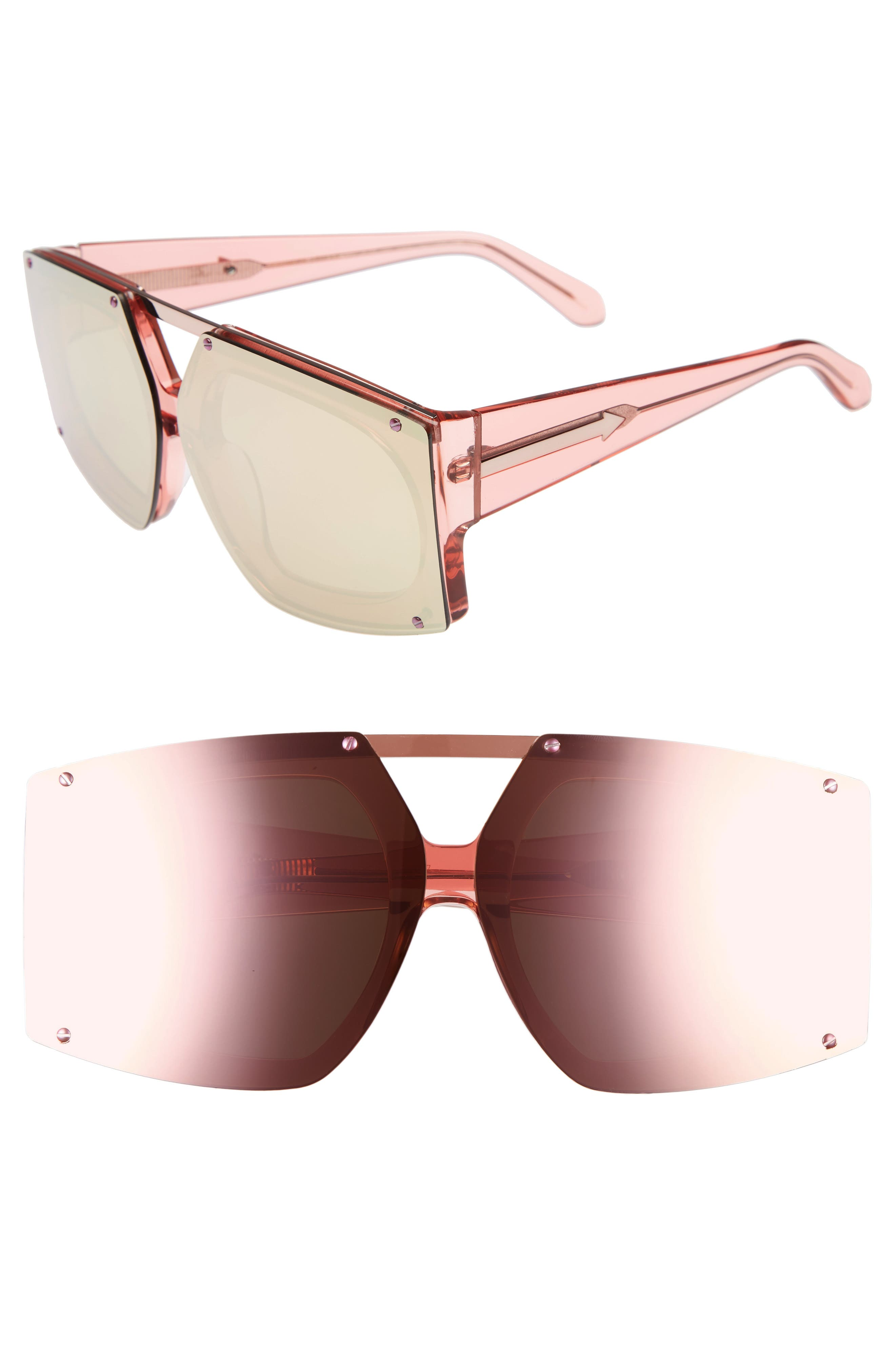 70mm Mirrored Oversized Sunglasses,                             Main thumbnail 3, color,