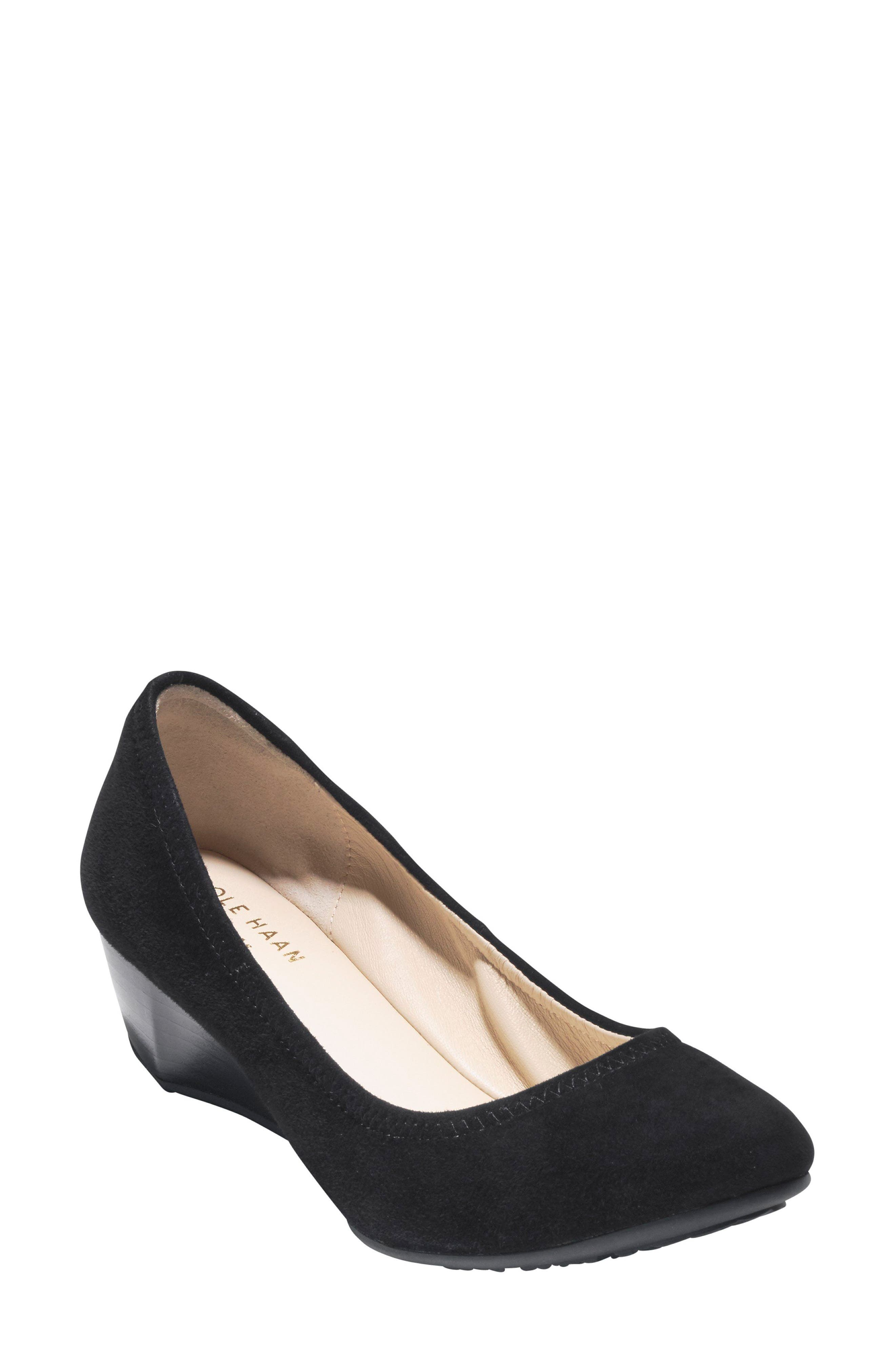 Sadie Wedge Pump,                             Main thumbnail 1, color,                             BLACK SUEDE
