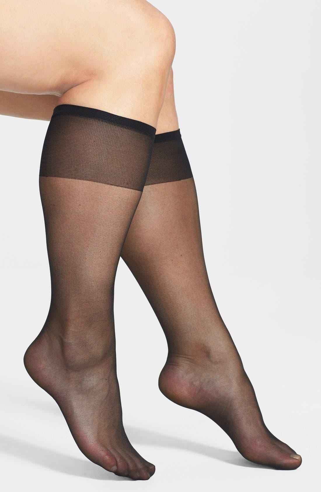 Sheer Knee High Socks, Main, color, 001