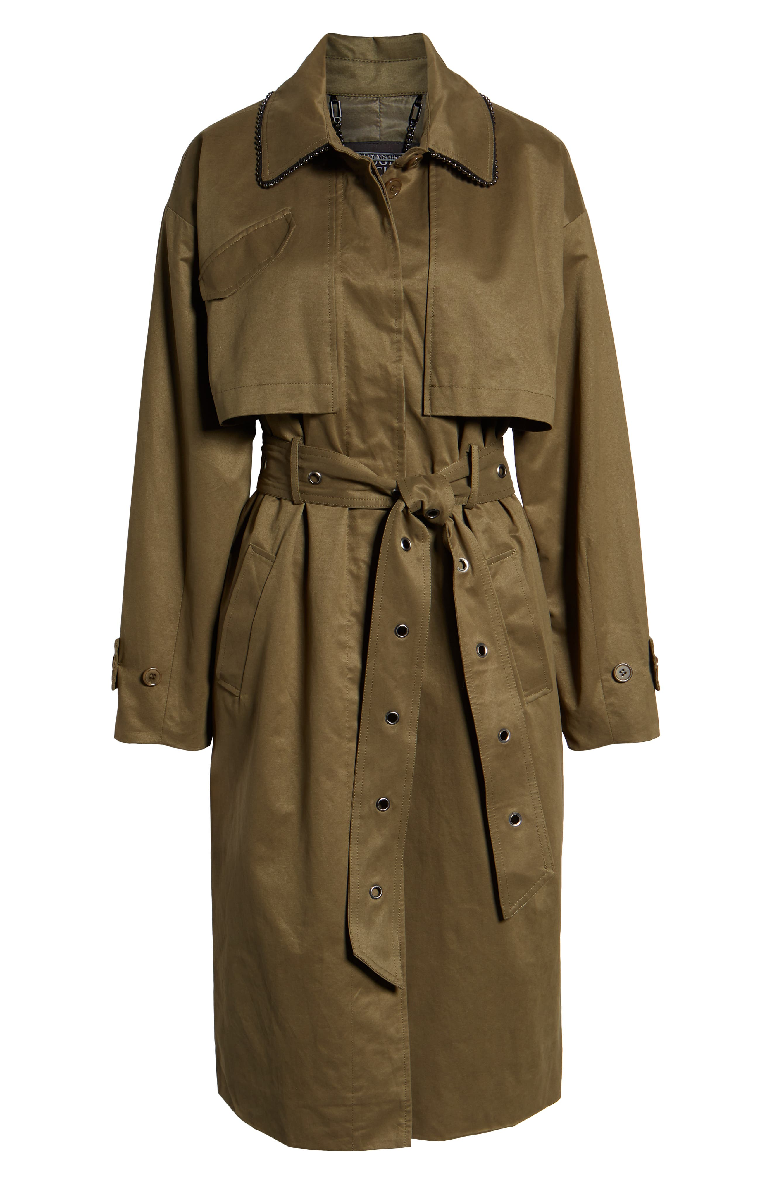 Badgley Mischka Cotton Blend Utility Trench Coat,                             Alternate thumbnail 6, color,                             301