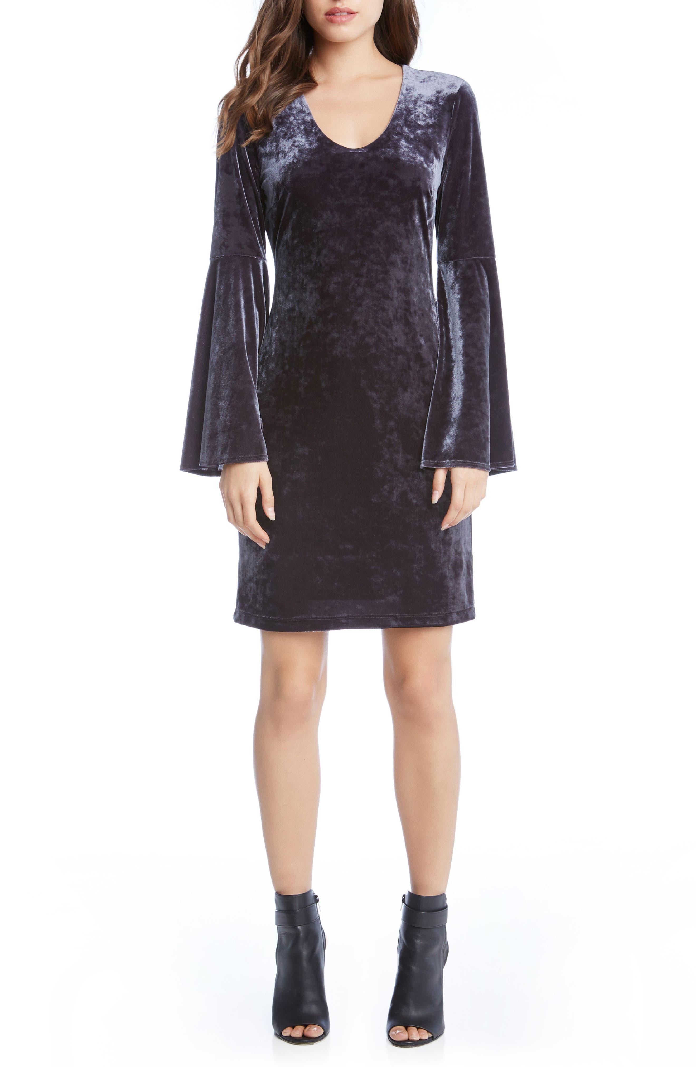 Velvet Bell Sleeve Sheath Dress,                         Main,                         color, 020