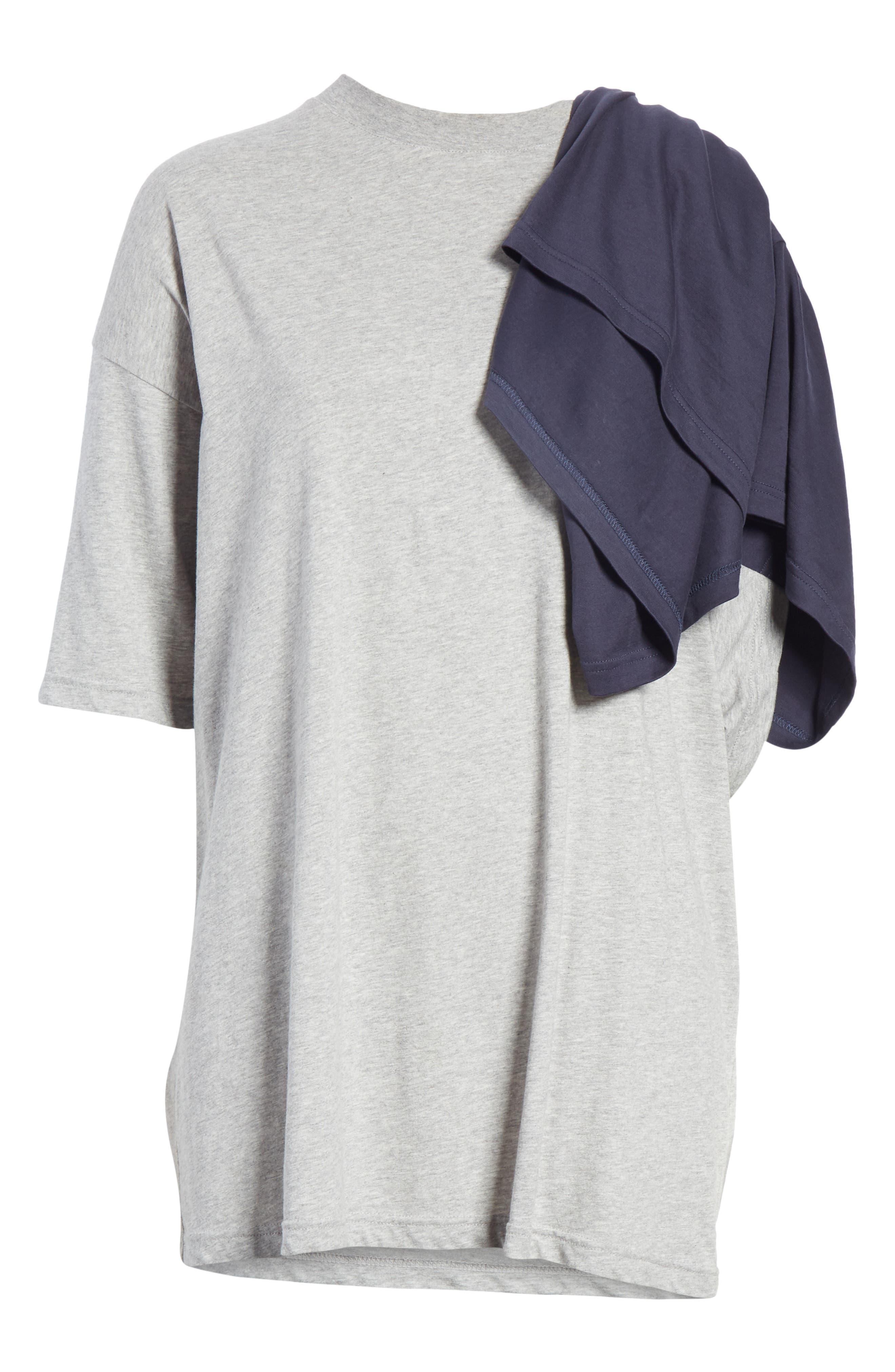 Doubled Short Sleeve Tee,                             Alternate thumbnail 7, color,                             GRCHINE/ NAVY