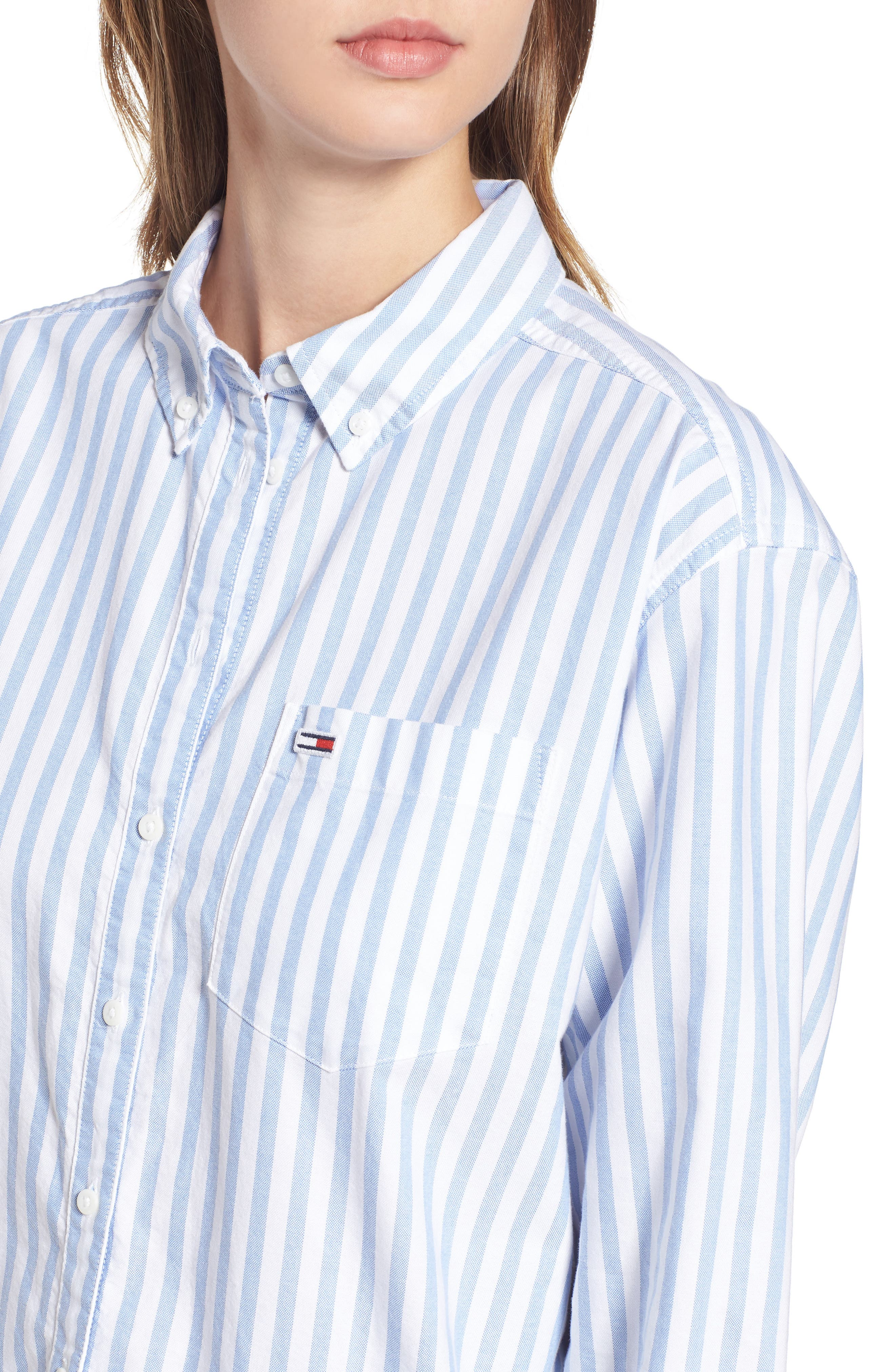 TJW Classics Stripe Shirt,                             Alternate thumbnail 4, color,                             BRIGHT WHITE / LIGHT BLUE