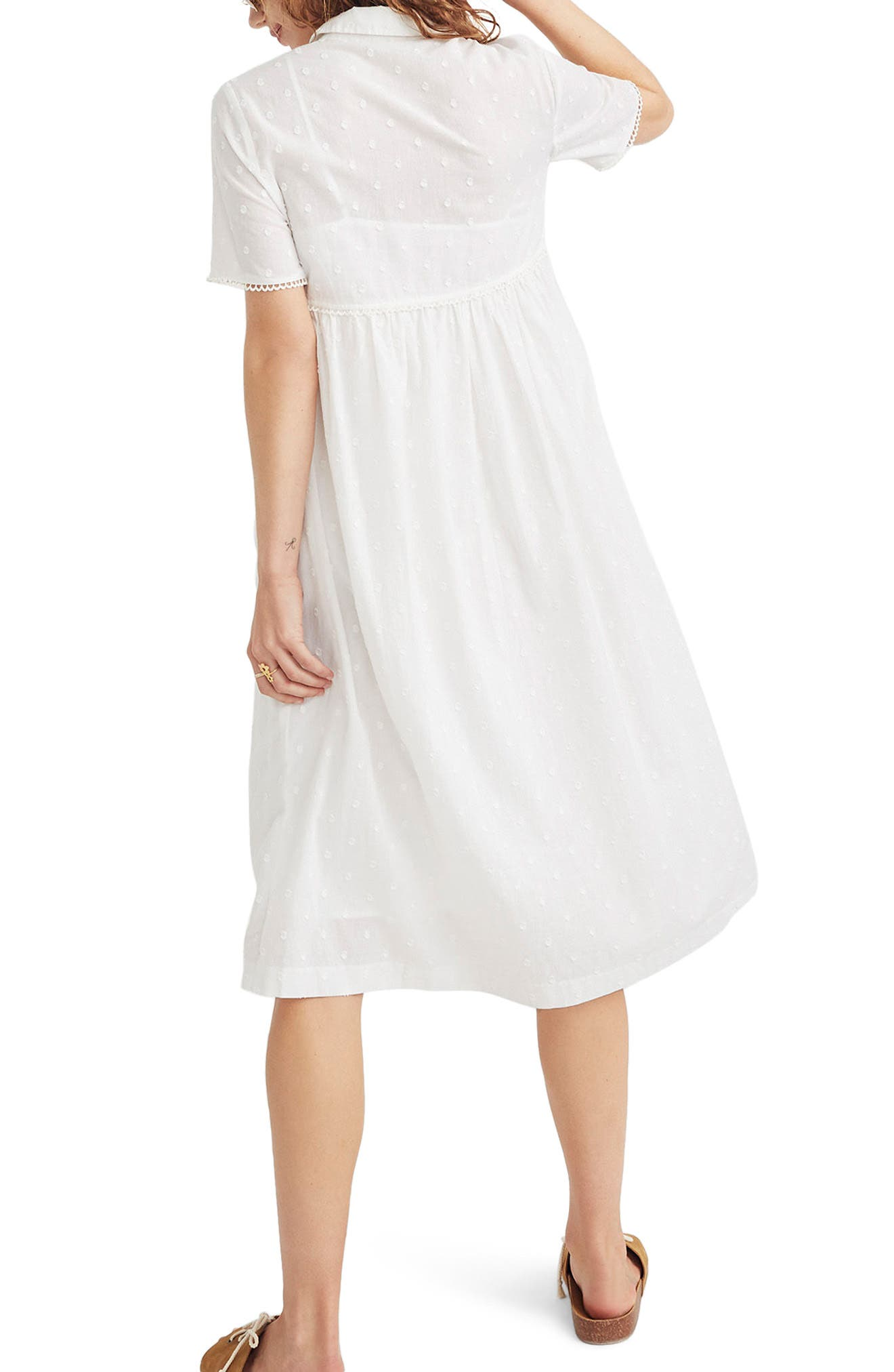 Clipdot Midi Shirtdress,                             Alternate thumbnail 2, color,                             EYELET WHITE