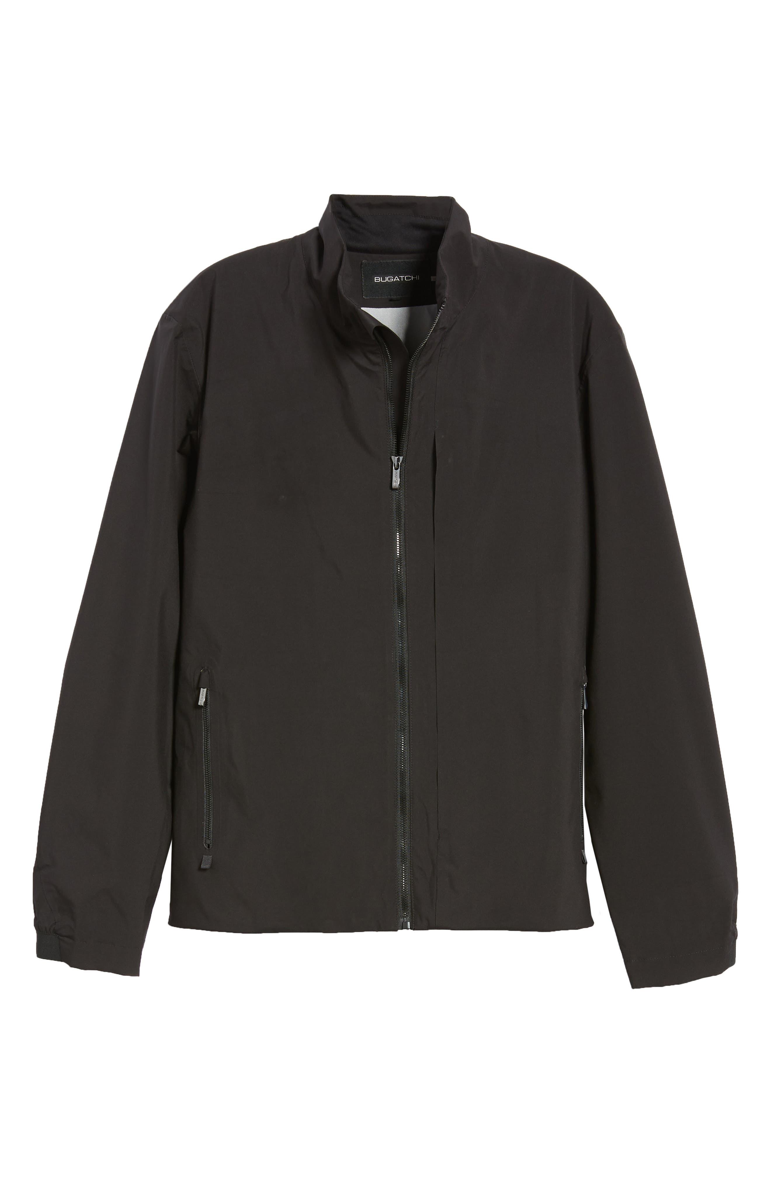 Mock Neck Jacket,                             Alternate thumbnail 6, color,                             BLACK