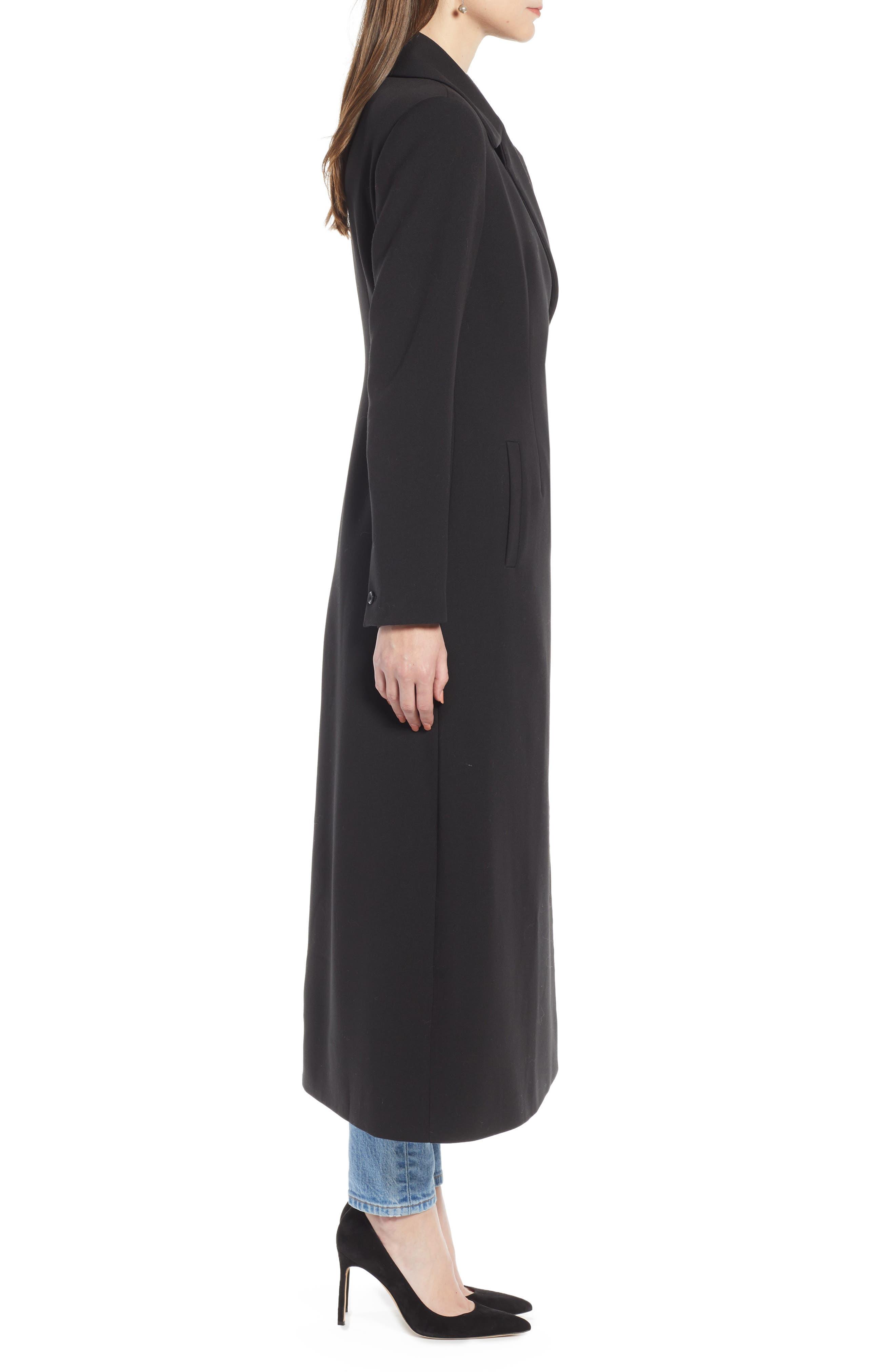 Long Feminine Coat,                             Alternate thumbnail 3, color,                             BLACK