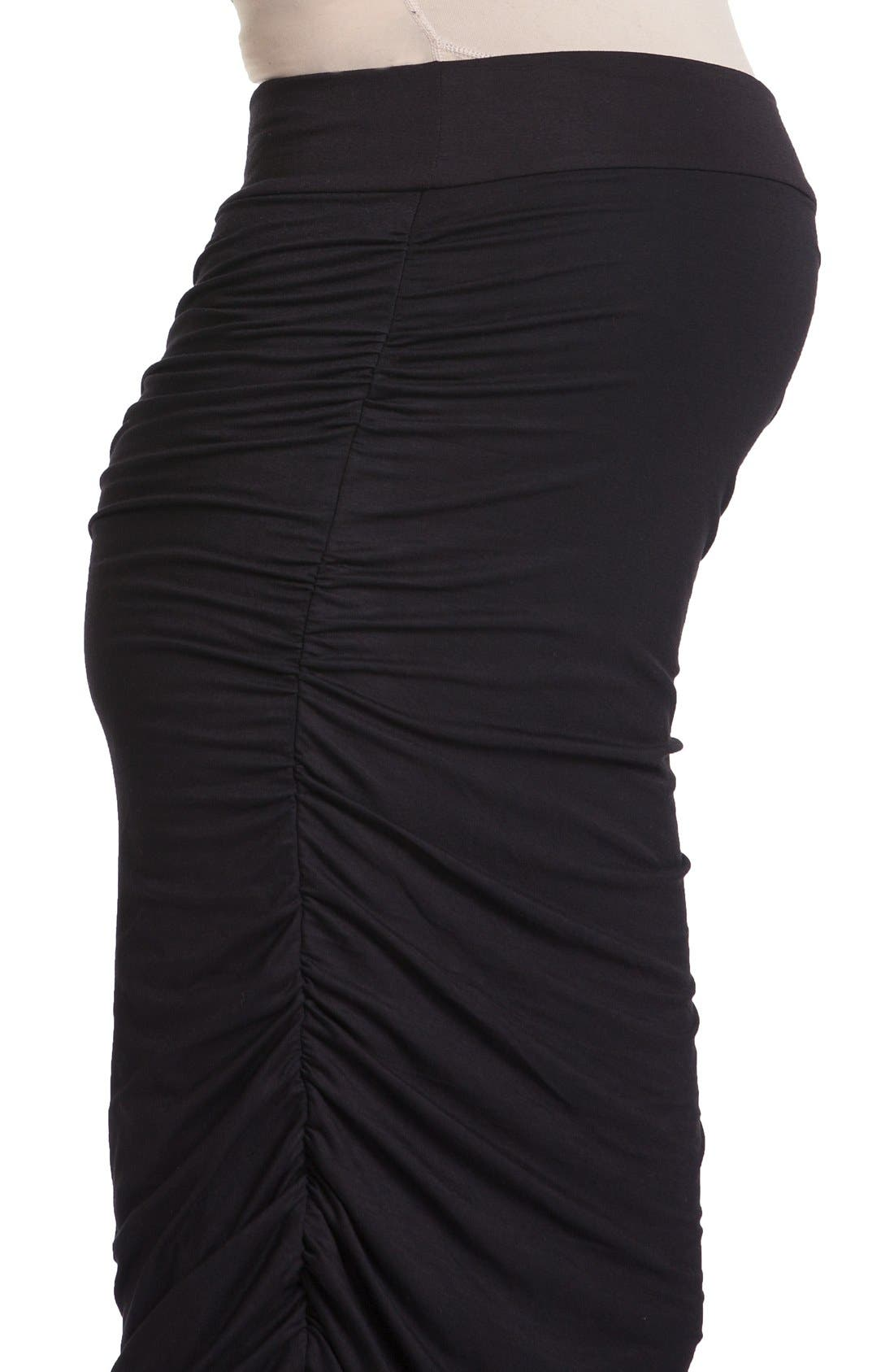Ruched Maternity Midi Skirt,                             Alternate thumbnail 2, color,                             001