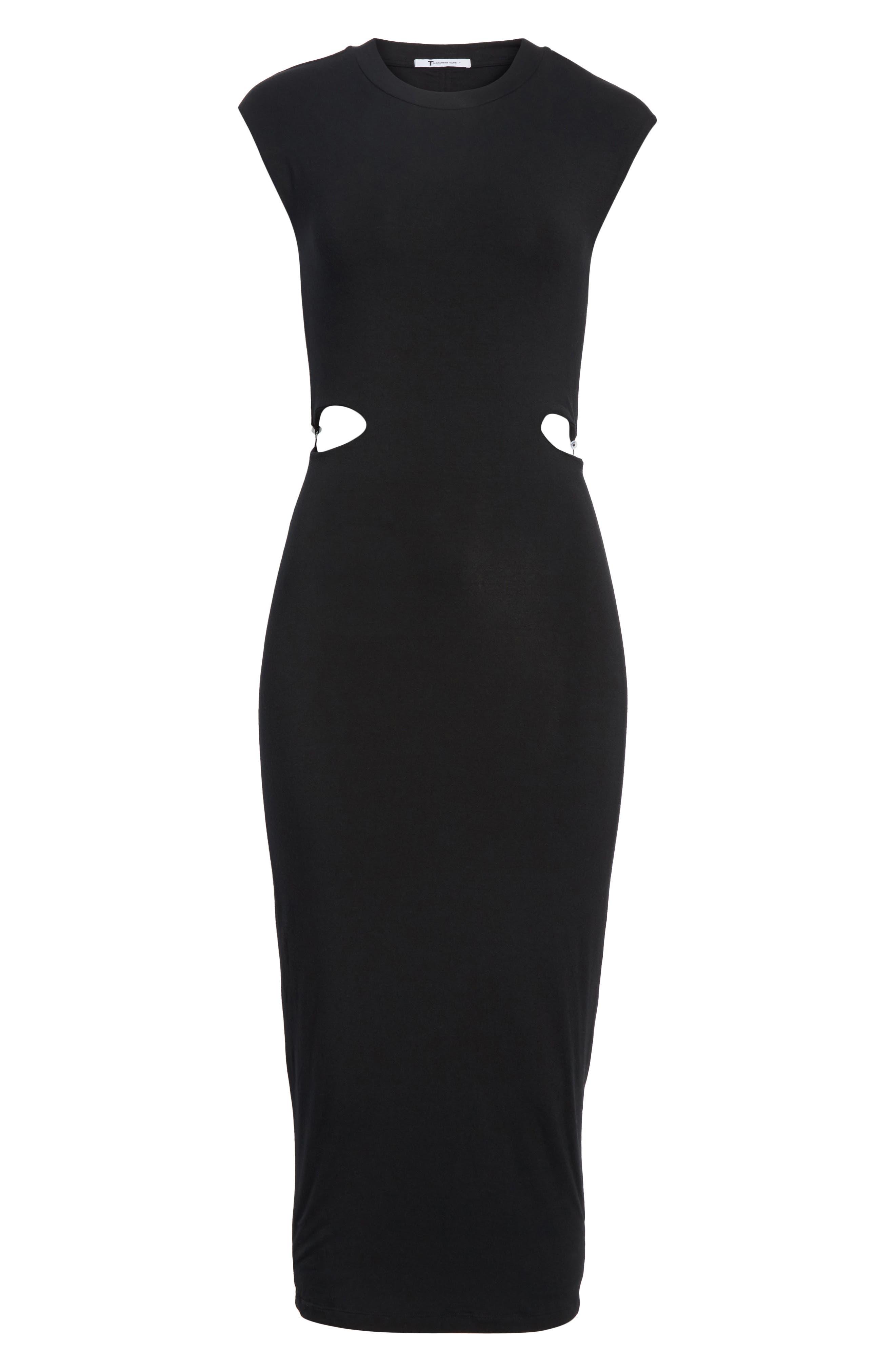 Cutout Stretch Jersey Dress,                             Alternate thumbnail 6, color,                             001