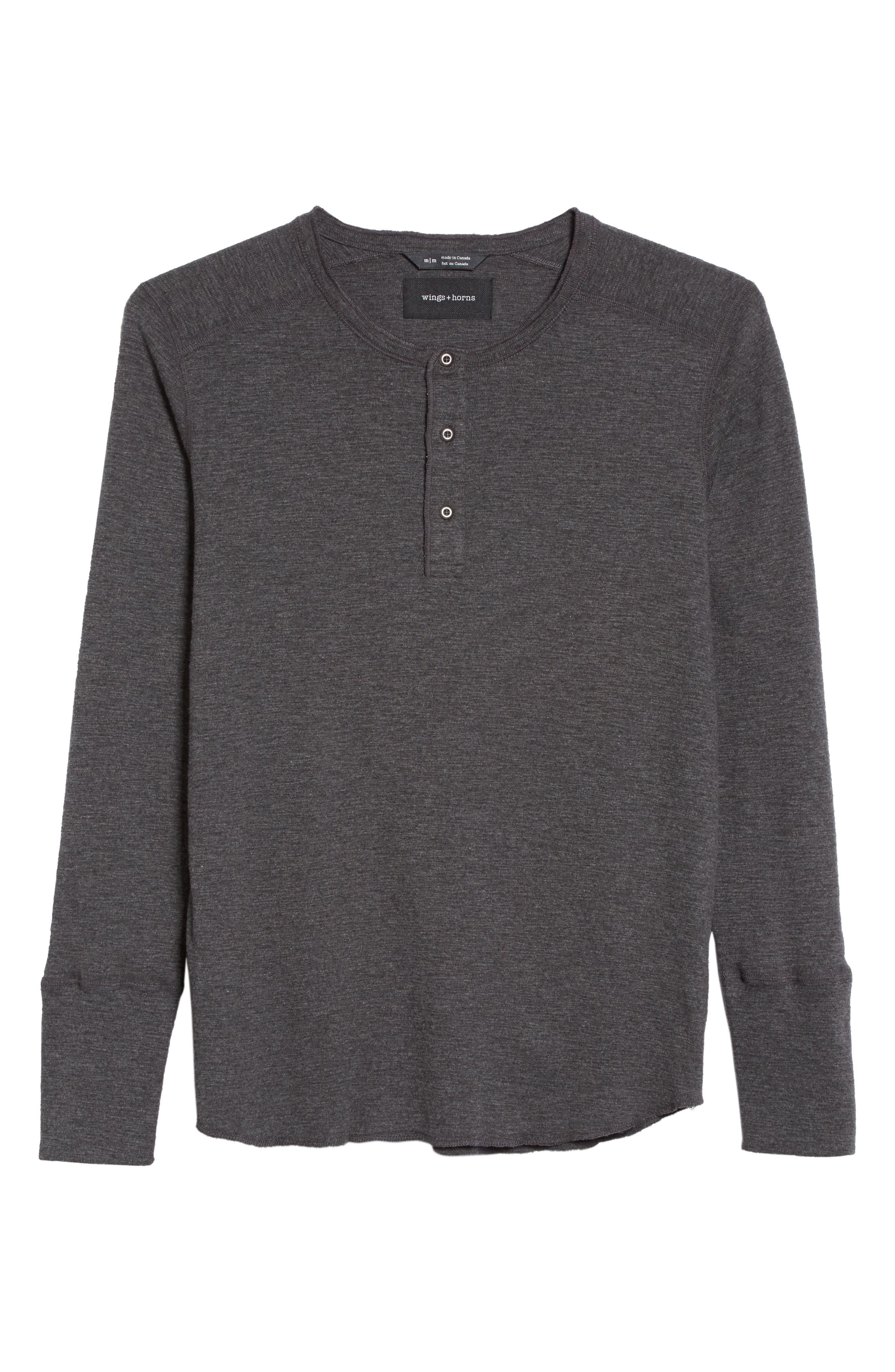 'Base' Long Sleeve Henley,                             Alternate thumbnail 6, color,                             HEATHER CHARCOAL