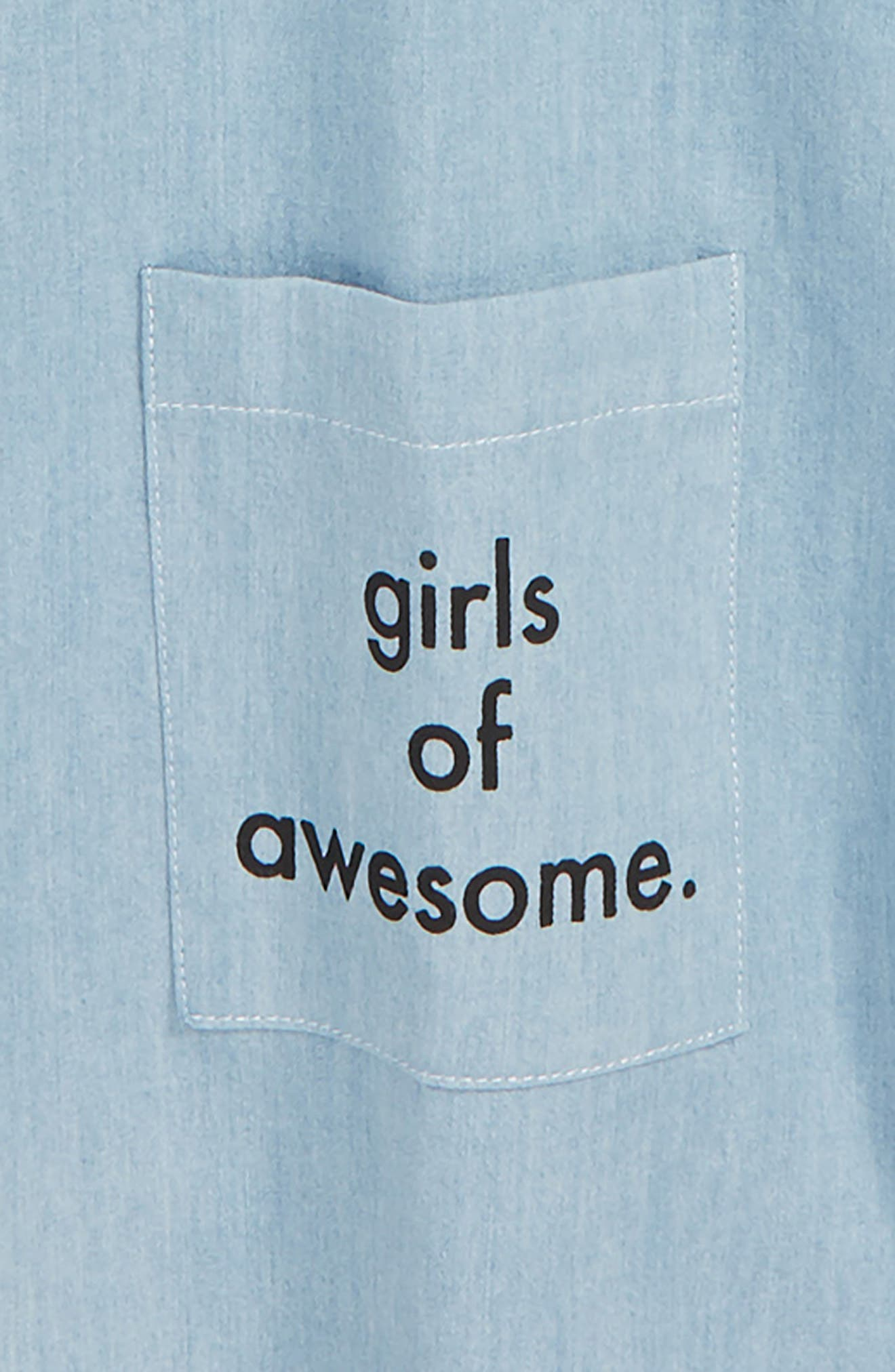 Girls of Awesome Tee & Dress Set,                             Alternate thumbnail 3, color,                             BLUE / CHAMBRAY