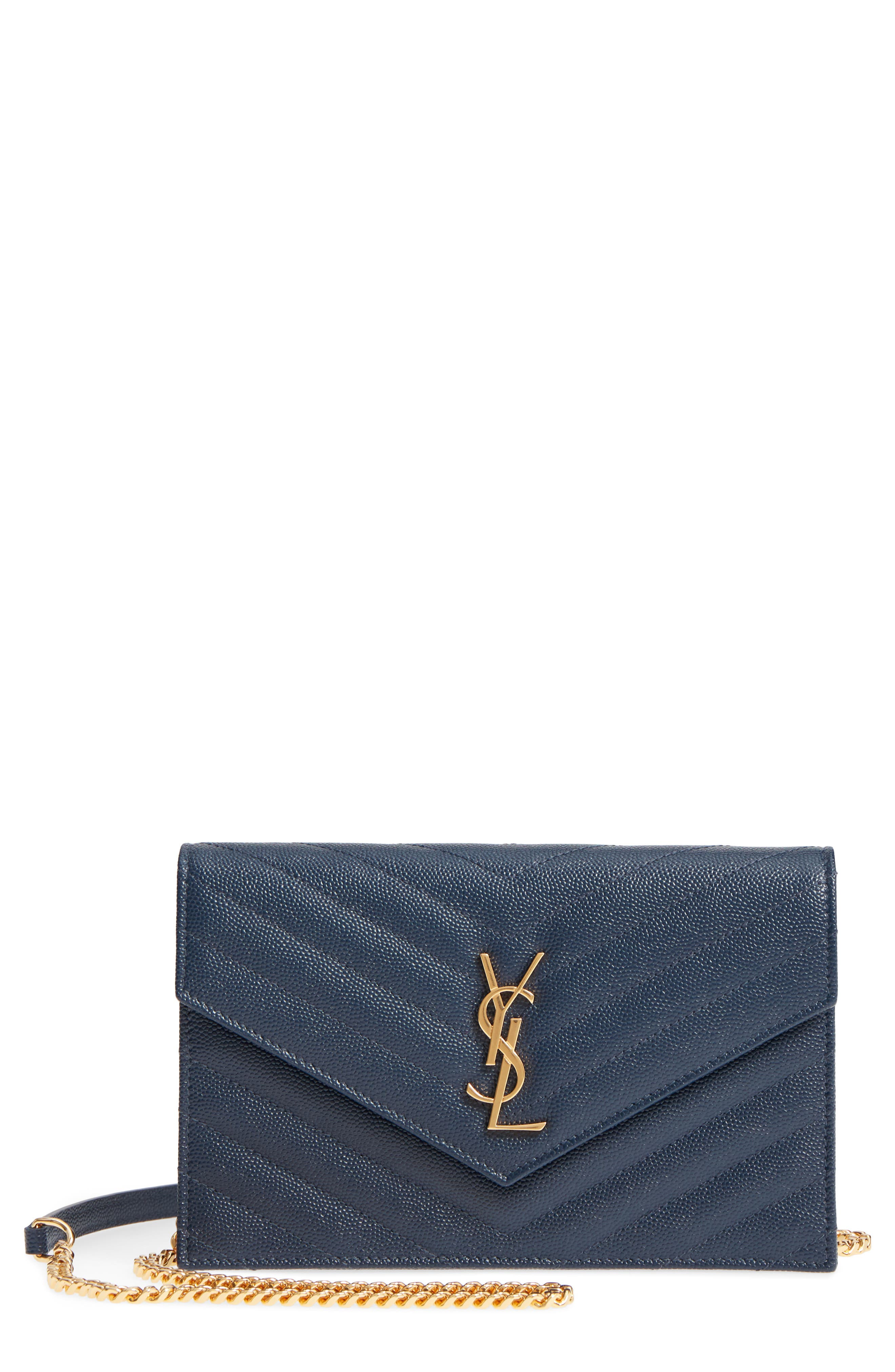 'Small Mono' Leather Wallet on a Chain,                         Main,                         color, NAVY