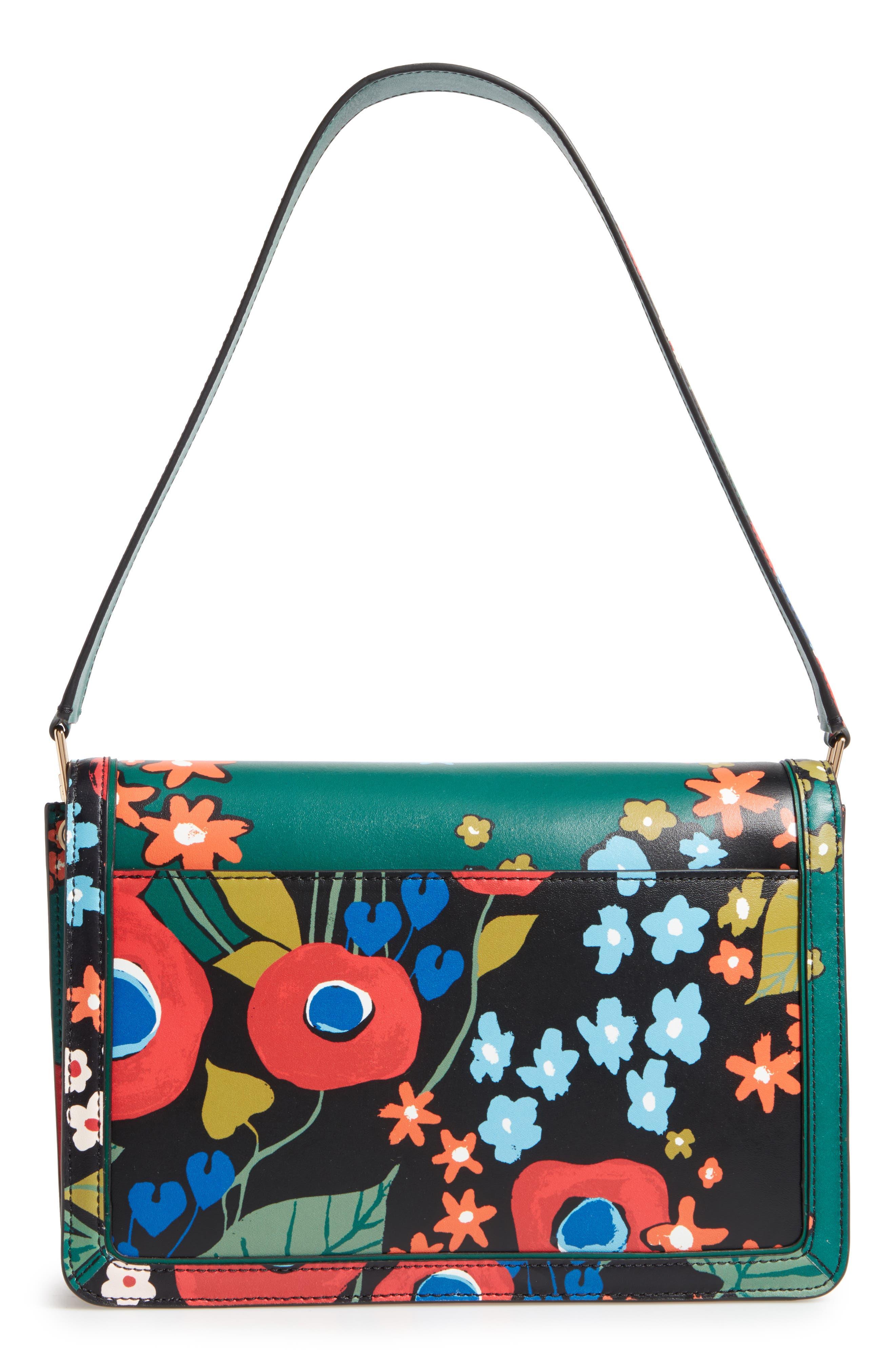 Juliette Flower Print Leather Shoulder Bag,                             Alternate thumbnail 3, color,                             300