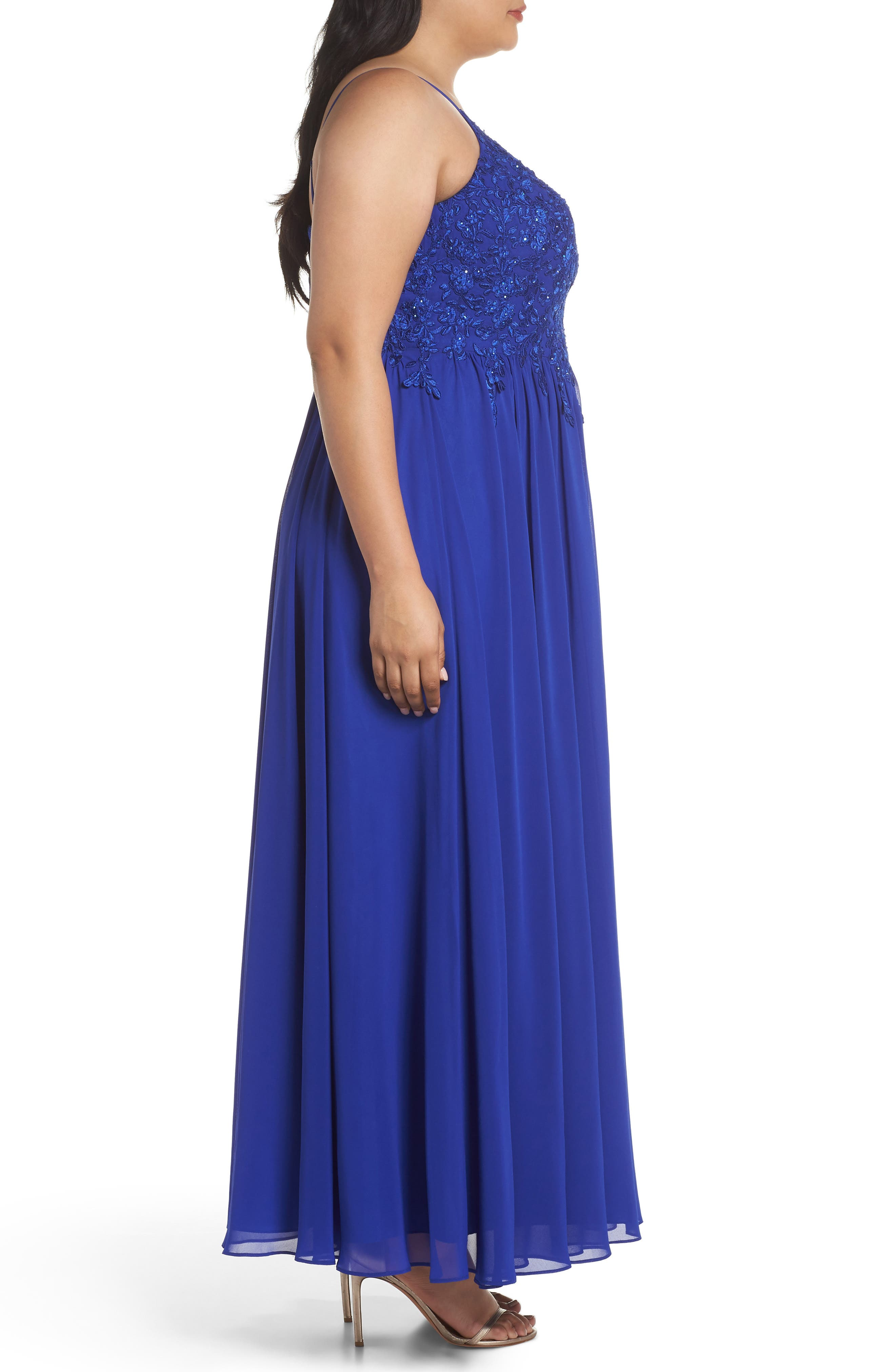 Embroidered Bodice Halter Top Maxi Dress,                             Alternate thumbnail 3, color,                             ROYAL