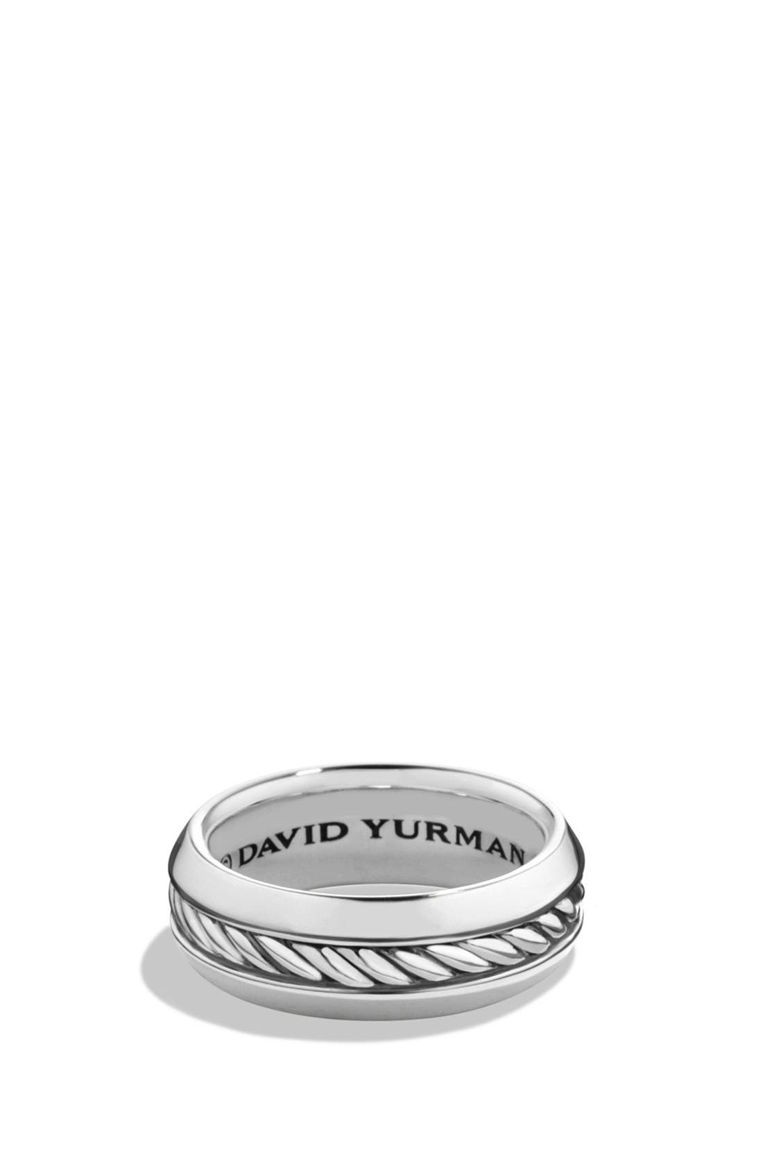 'Classic Cable' Band Ring,                             Main thumbnail 1, color,                             SILVER
