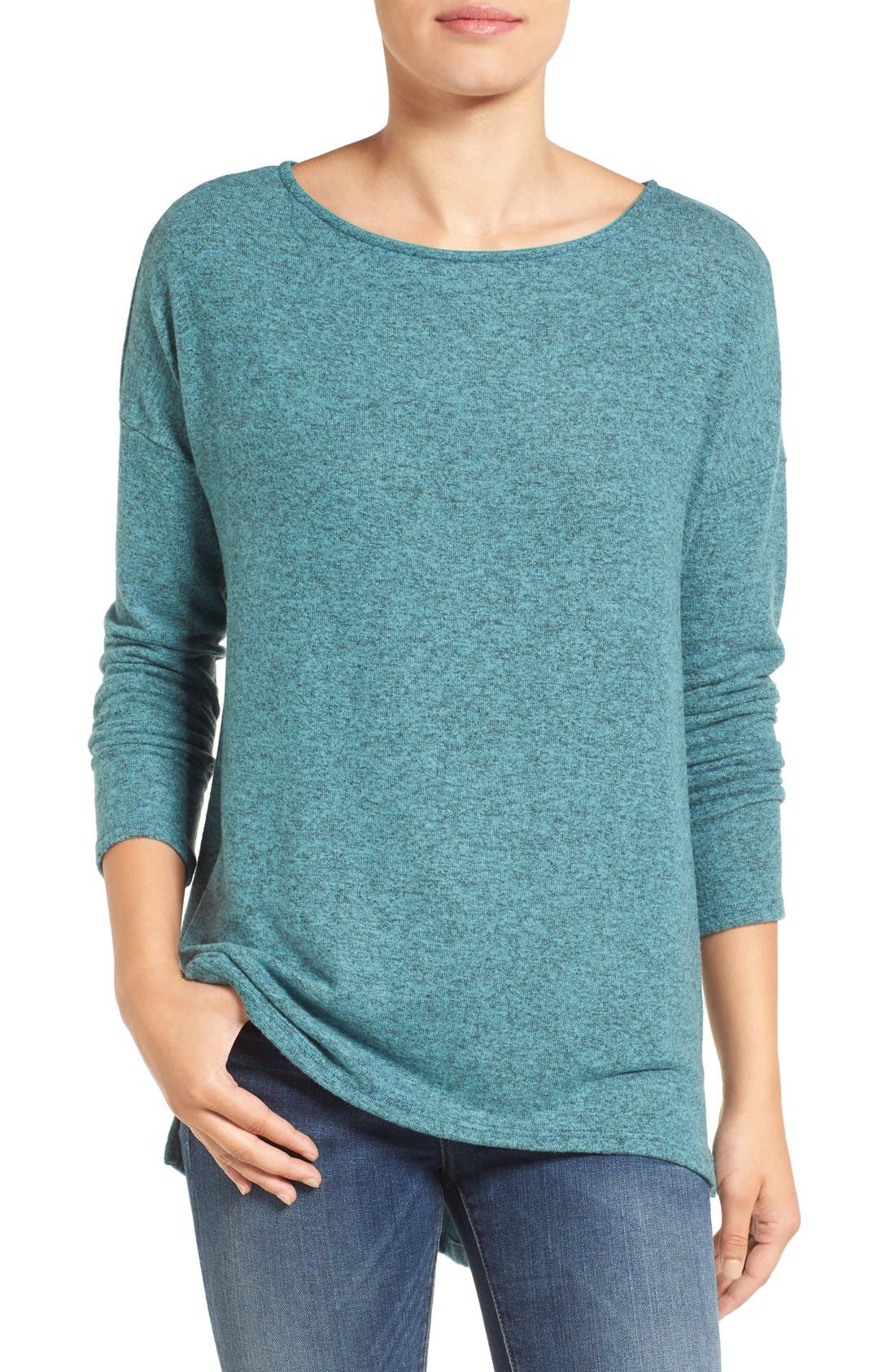 Cozy Ballet Neck High/Low Pullover,                             Main thumbnail 9, color,