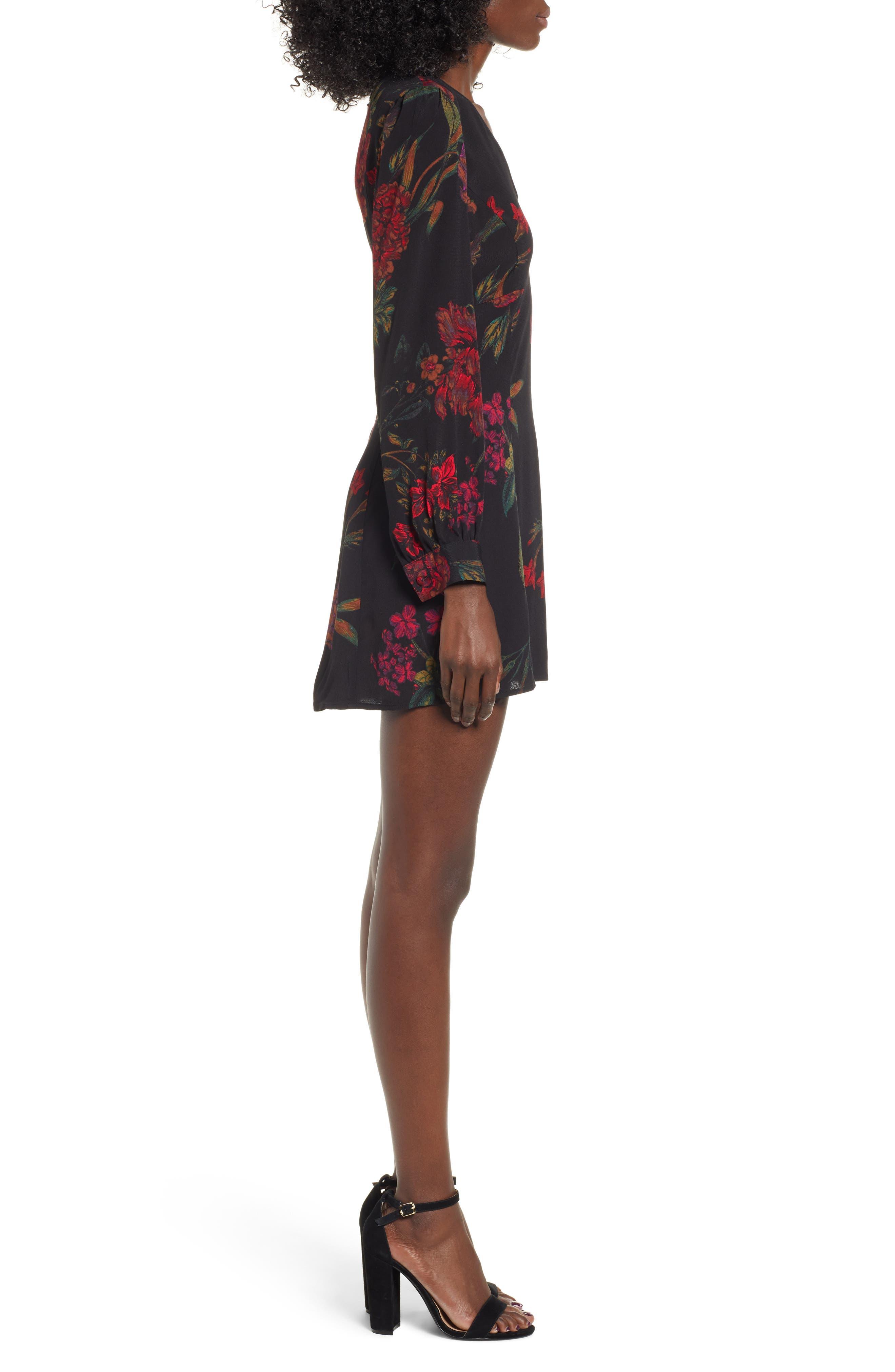 V-Neck Floral Print Minidress,                             Alternate thumbnail 3, color,                             BLACK STATEMENT FLORAL
