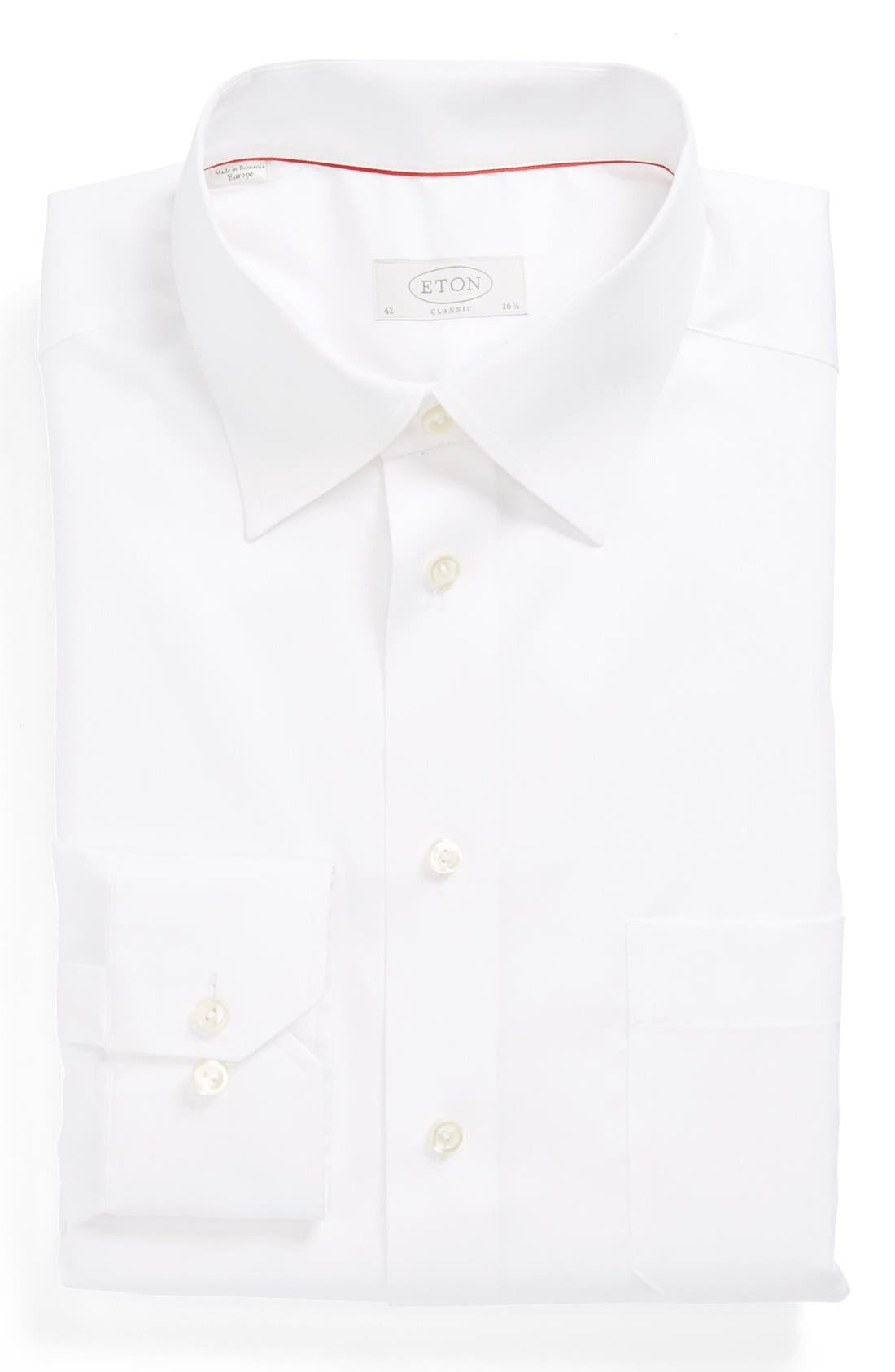 Classic Fit Twill Dress Shirt,                             Main thumbnail 1, color,                             WHITE