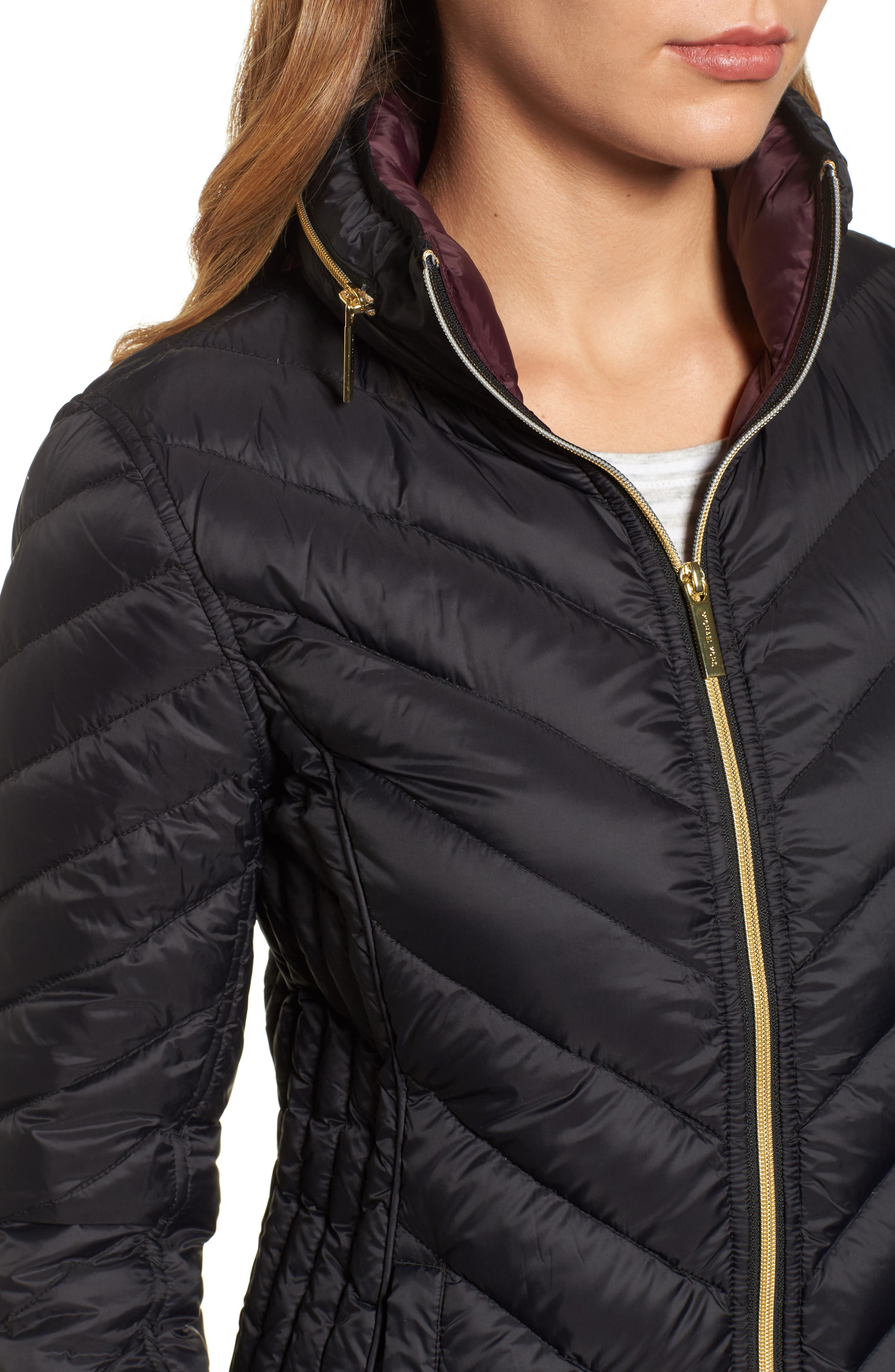 Chevron Quilted Packable Down Puffer Jacket with Stowaway Hood,                             Alternate thumbnail 4, color,                             001
