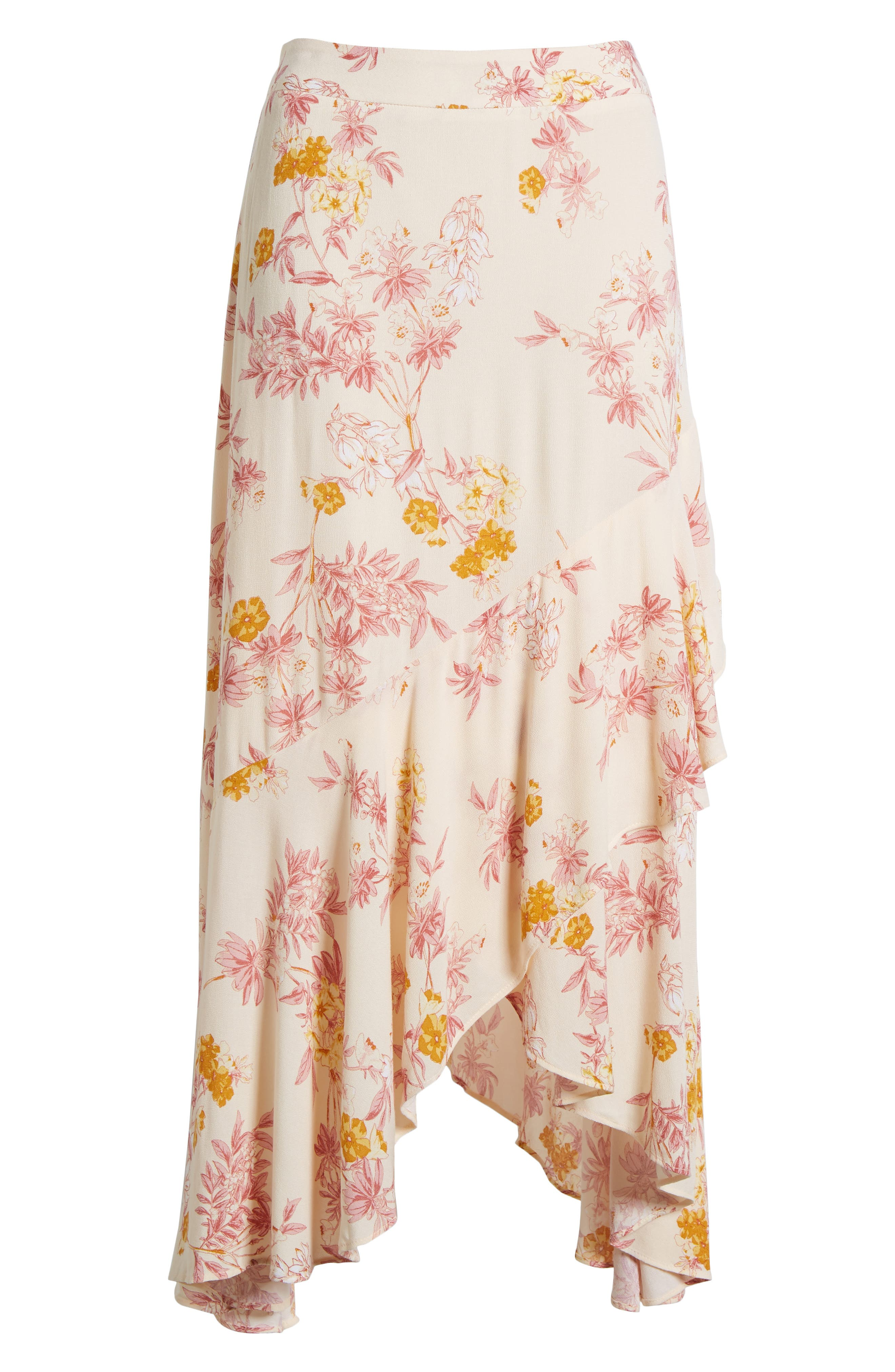 Print High/Low Midi Skirt,                             Alternate thumbnail 6, color,                             260