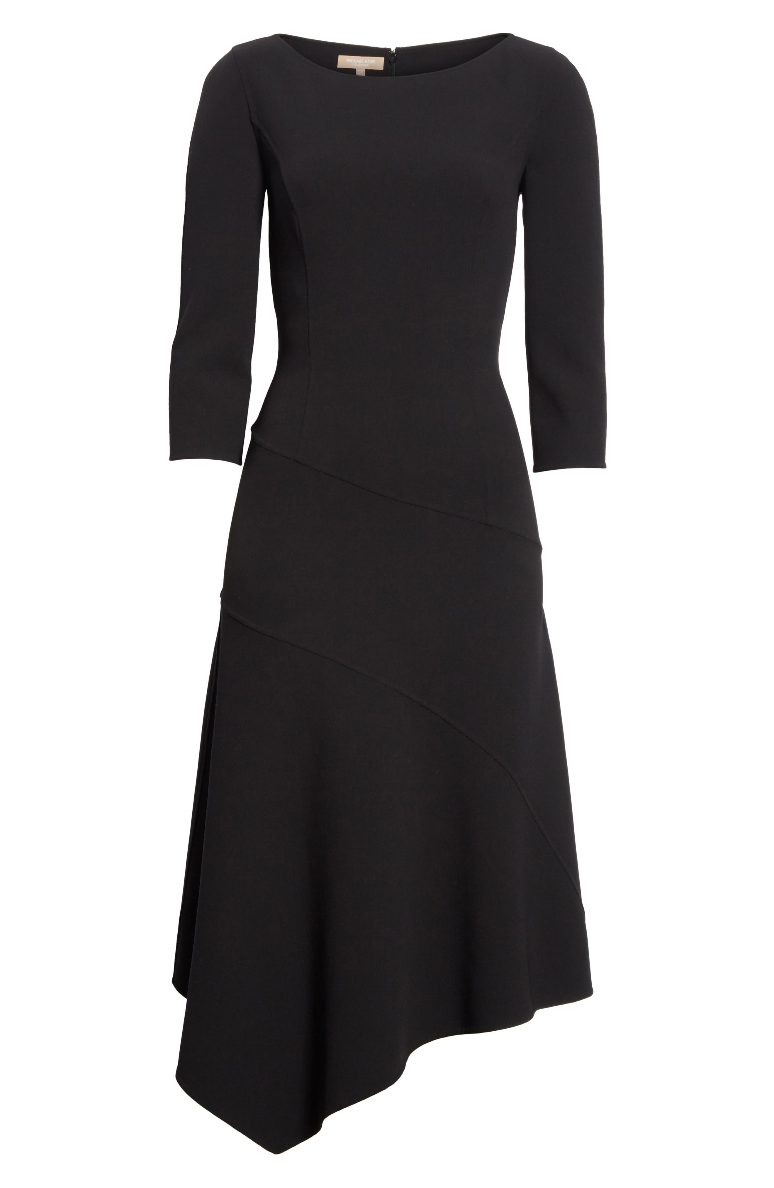 Stretch Wool Asymmetrical Dress,                             Alternate thumbnail 6, color,                             001