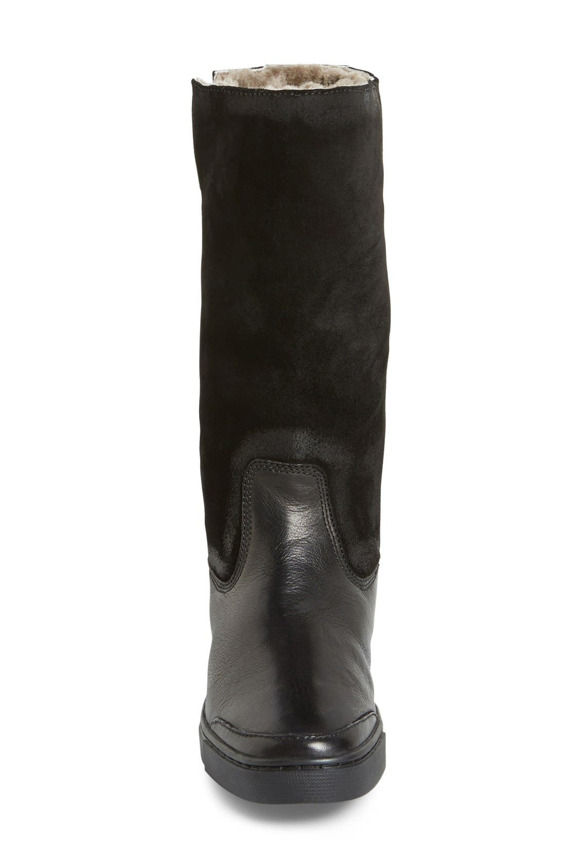 'Gemma' Tall Genuine Shearling Lined Boot,                             Alternate thumbnail 3, color,                             001