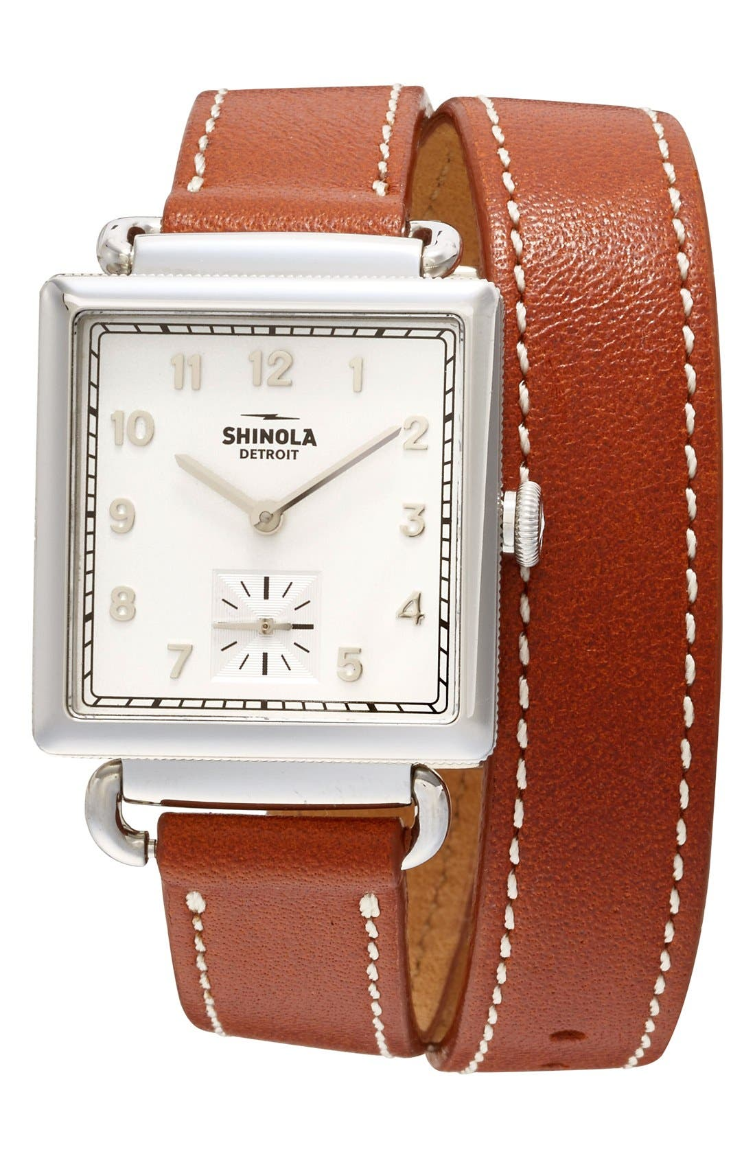 Cass Leather Strap Watch, 28mm,                         Main,                         color, BROWN/ SILVER