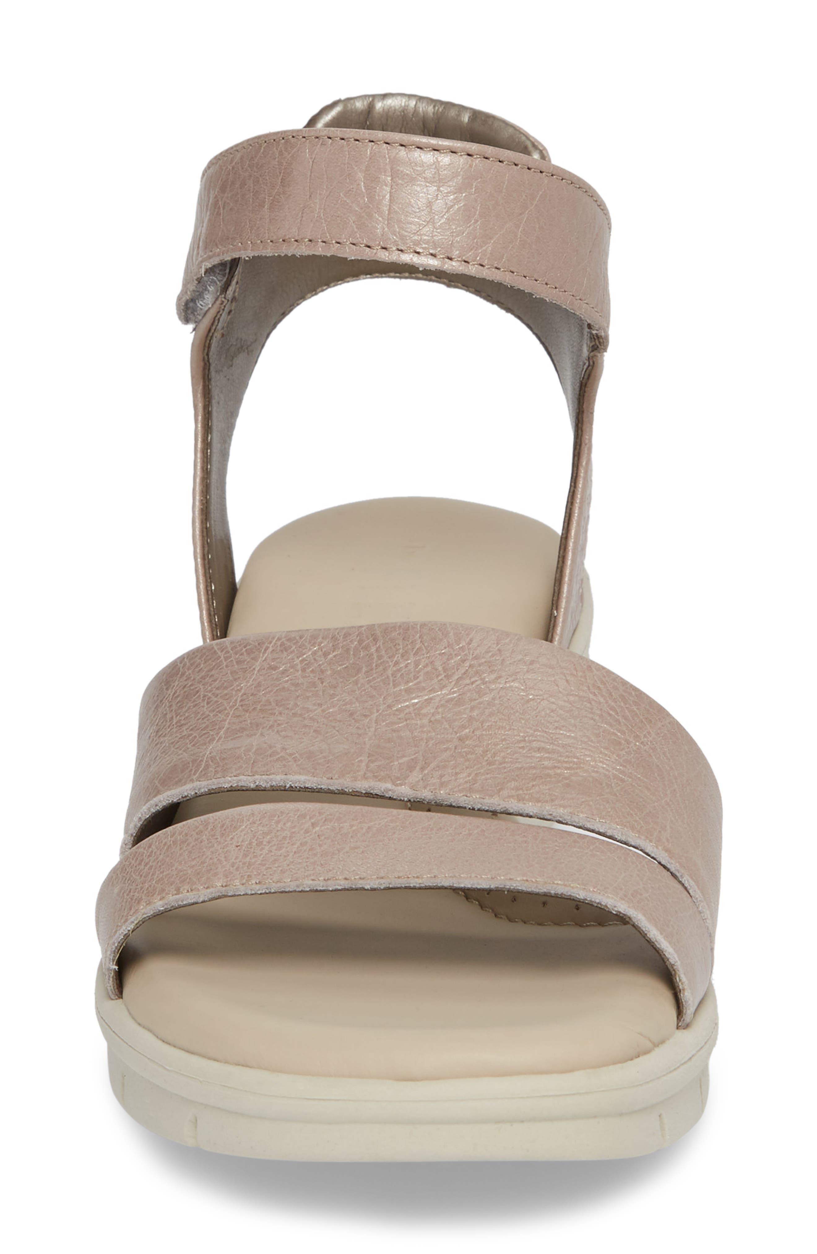 Crossover Ankle Strap Sandal,                             Alternate thumbnail 4, color,                             HAZE CRACKLED LEATHER