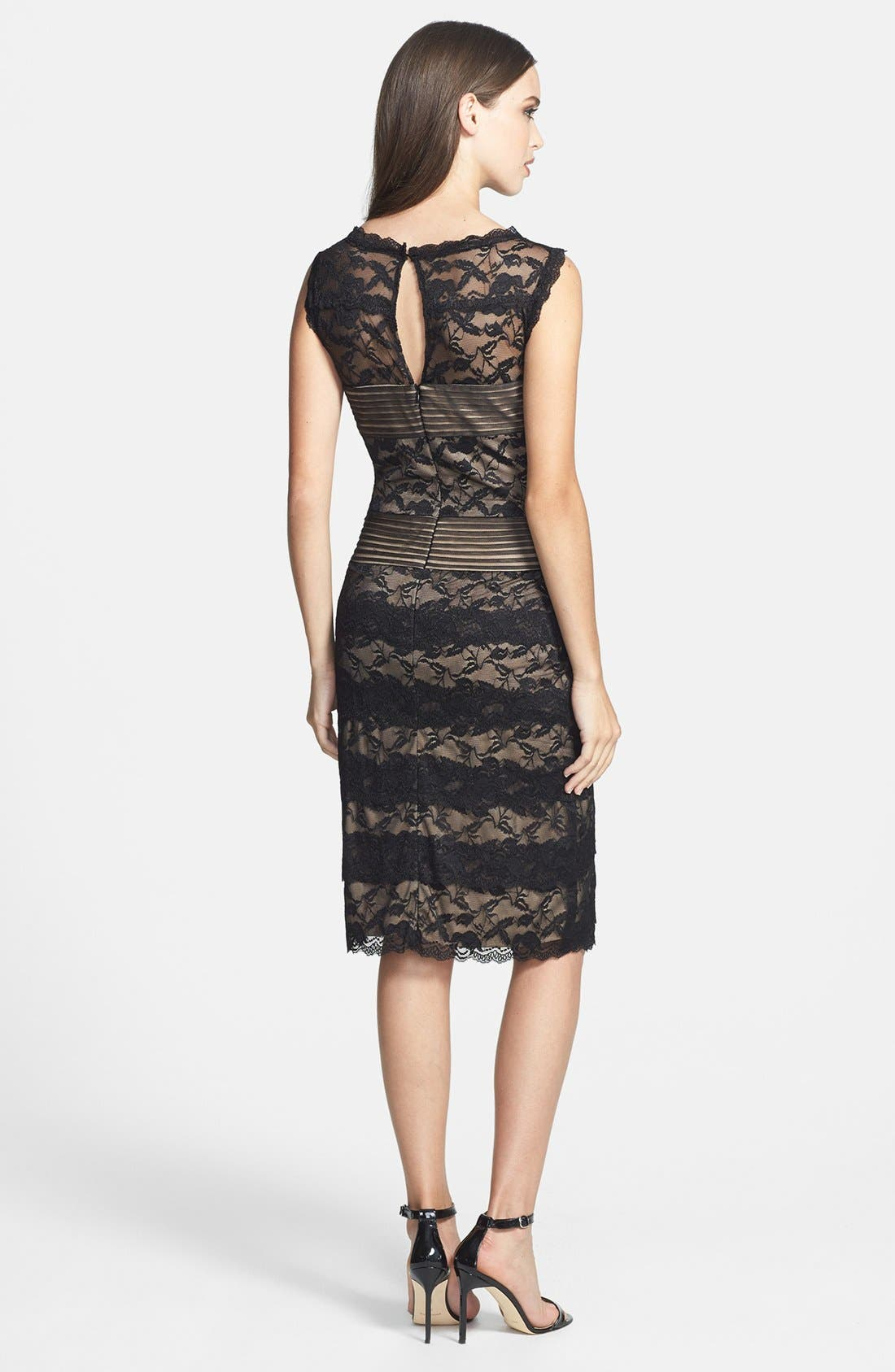 MARINA,                             Pleat Mesh & Tiered Lace Sheath Dress,                             Alternate thumbnail 2, color,                             003
