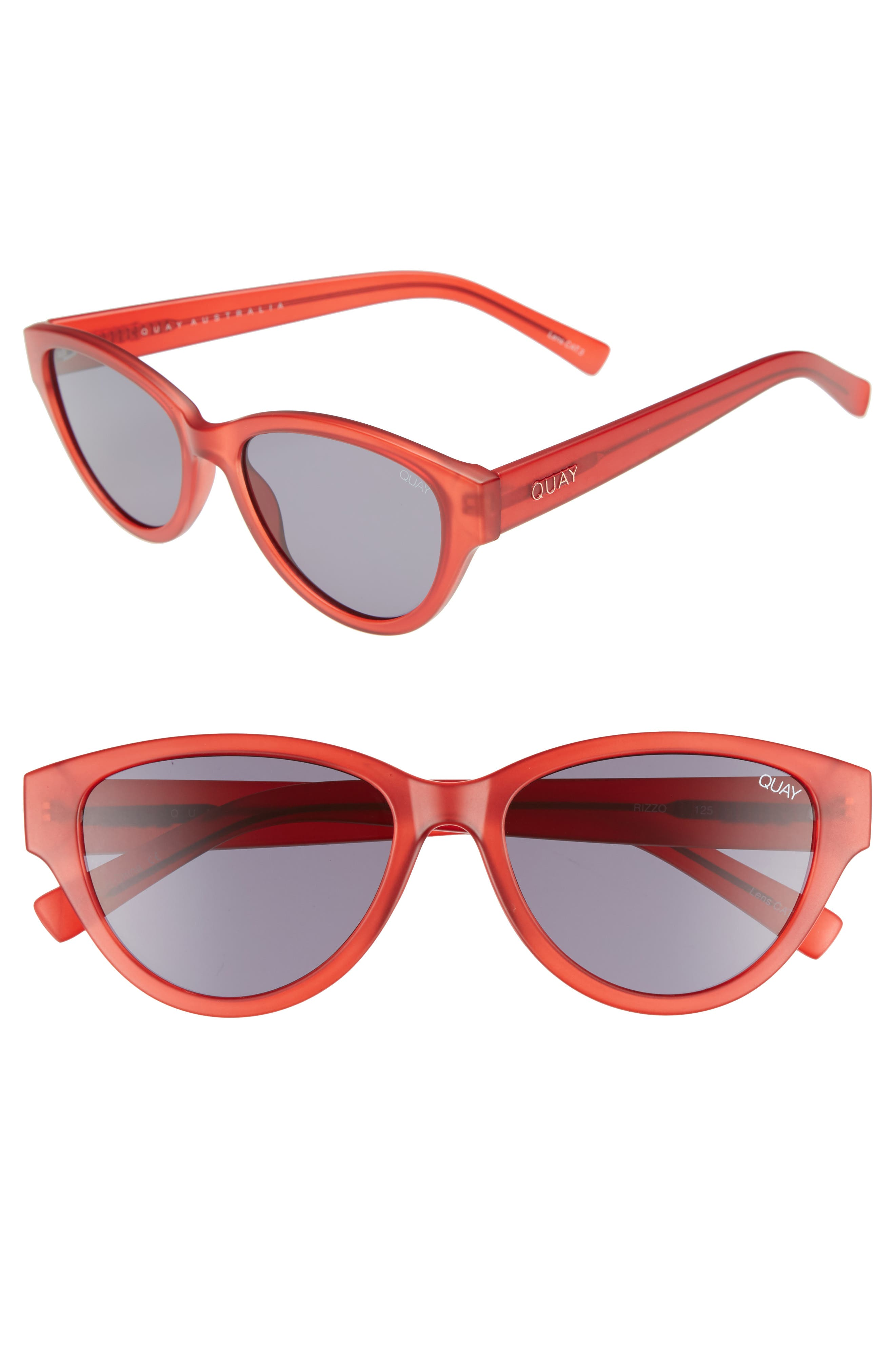 Rizzo 55mm Cat Eye Sunglasses,                         Main,                         color, RED/ SMOKE