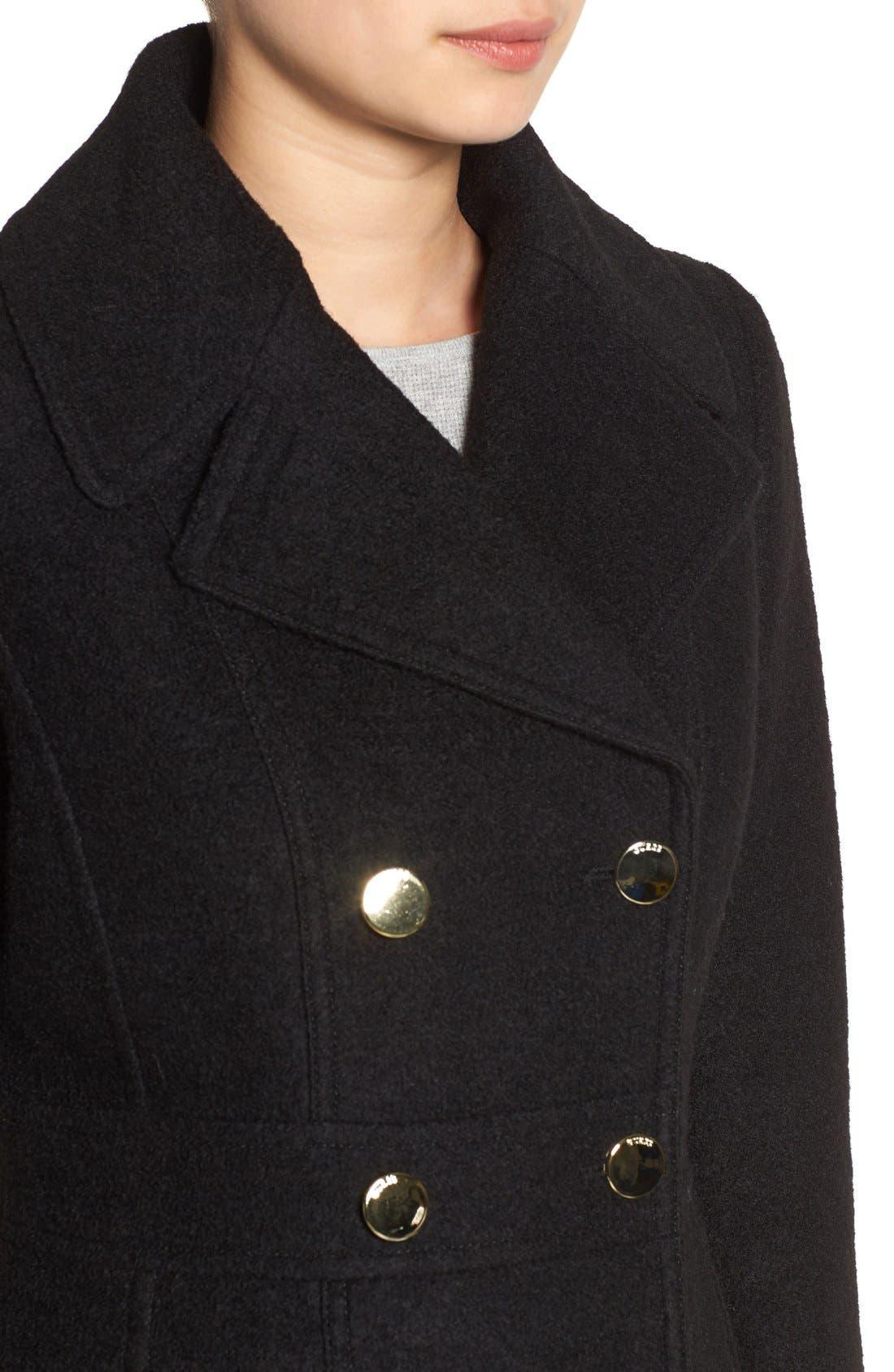 Fit & Flare Military Coat,                             Alternate thumbnail 3, color,                             001