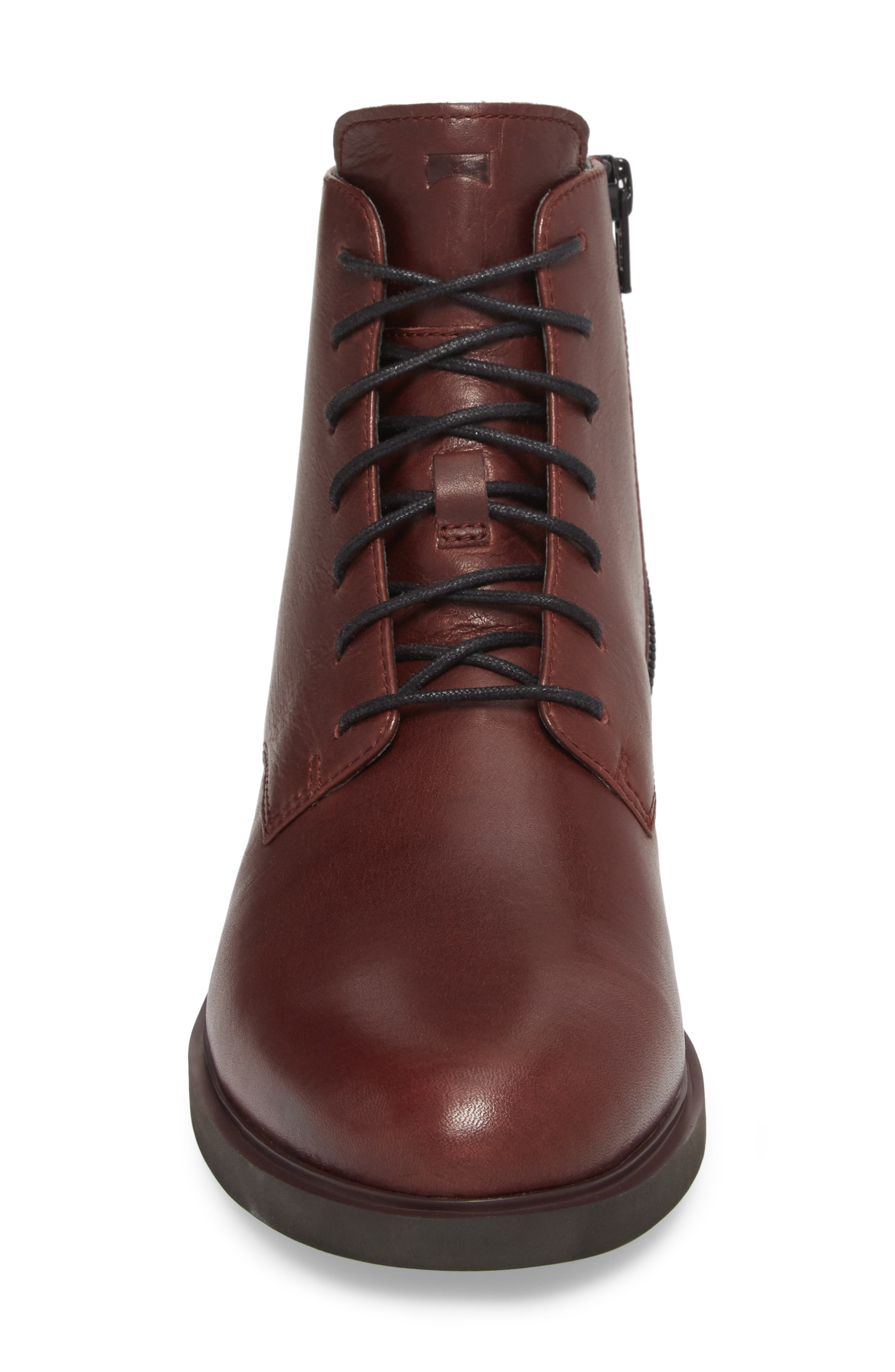 Helix Lace-Up Bootie,                             Alternate thumbnail 4, color,                             BURGUNDY LEATHER