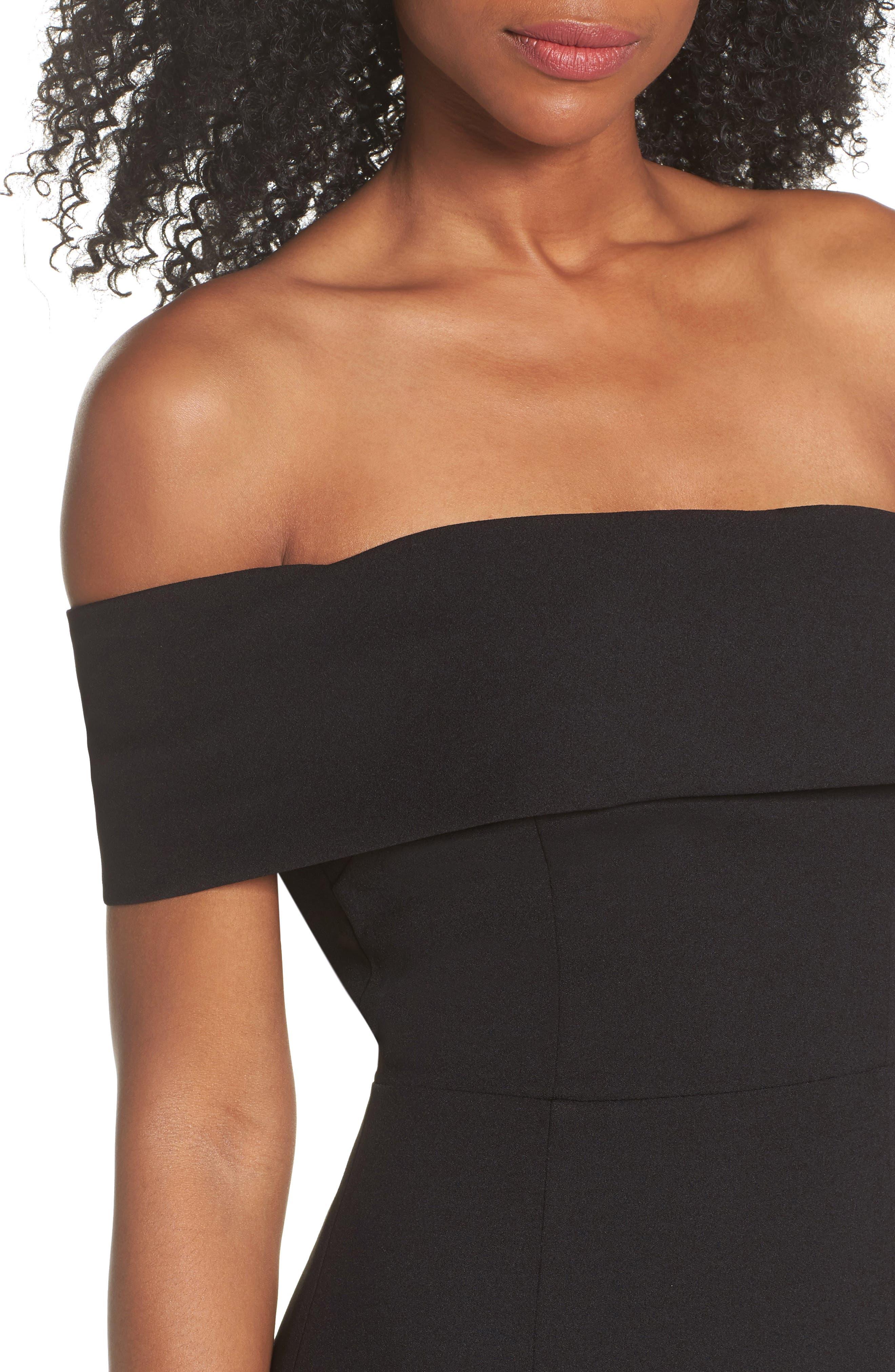 Titan One-Shoulder Cutout Crepe Gown,                             Alternate thumbnail 4, color,                             BLACK