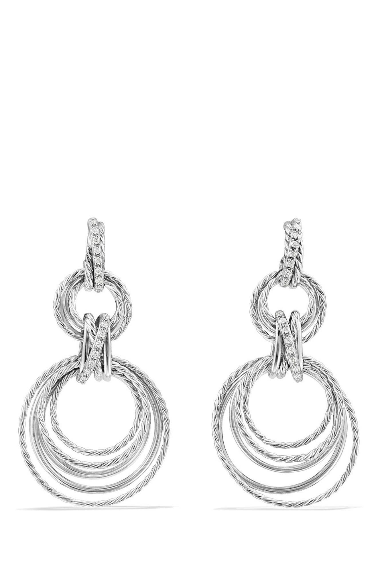Crossover Double Drop Earrings with Diamonds,                             Main thumbnail 1, color,                             SILVER