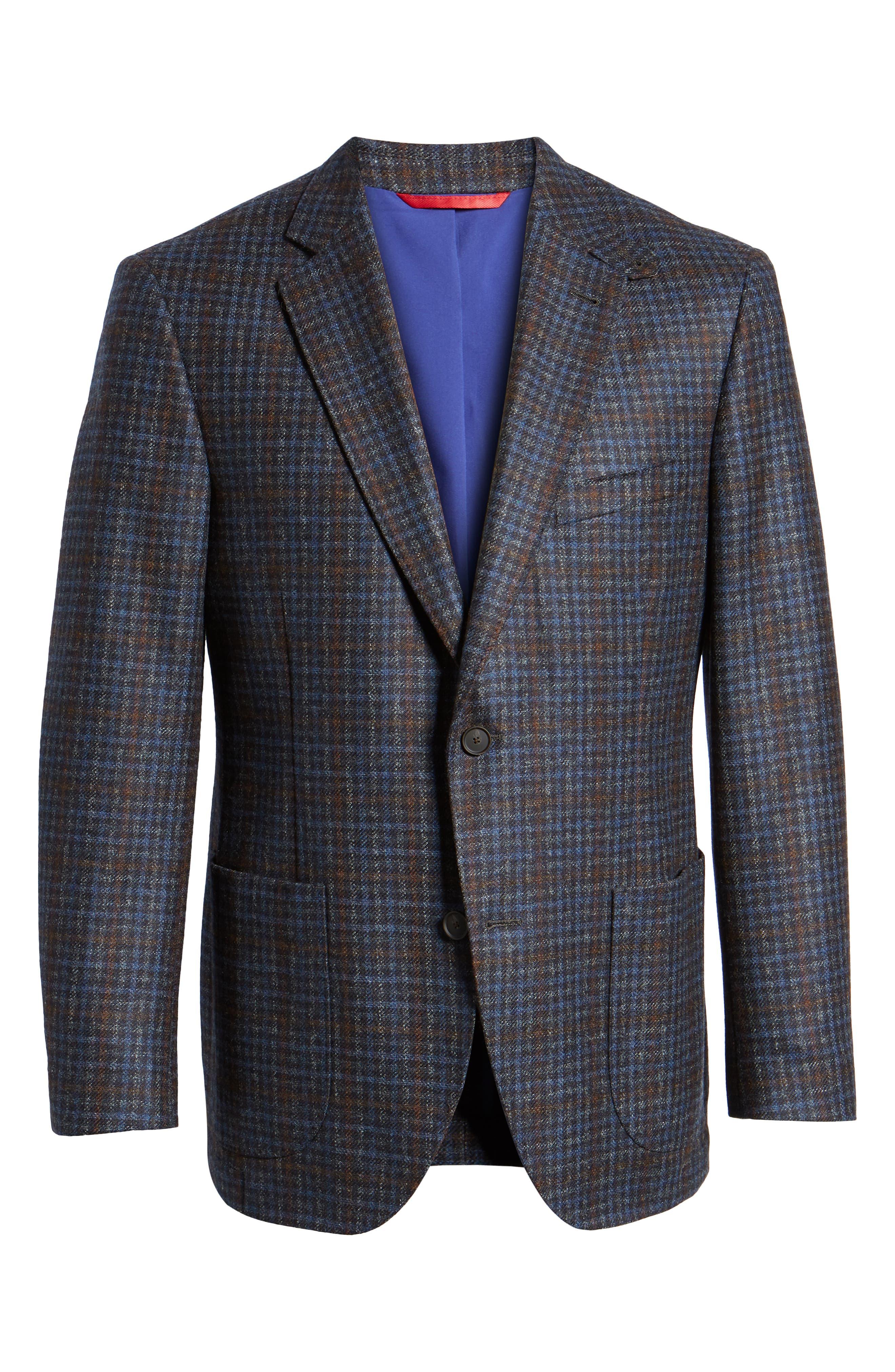 Bono 2 Classic Fit Check Wool & Cashmere Sport Coat,                             Alternate thumbnail 5, color,                             BURGUNDY