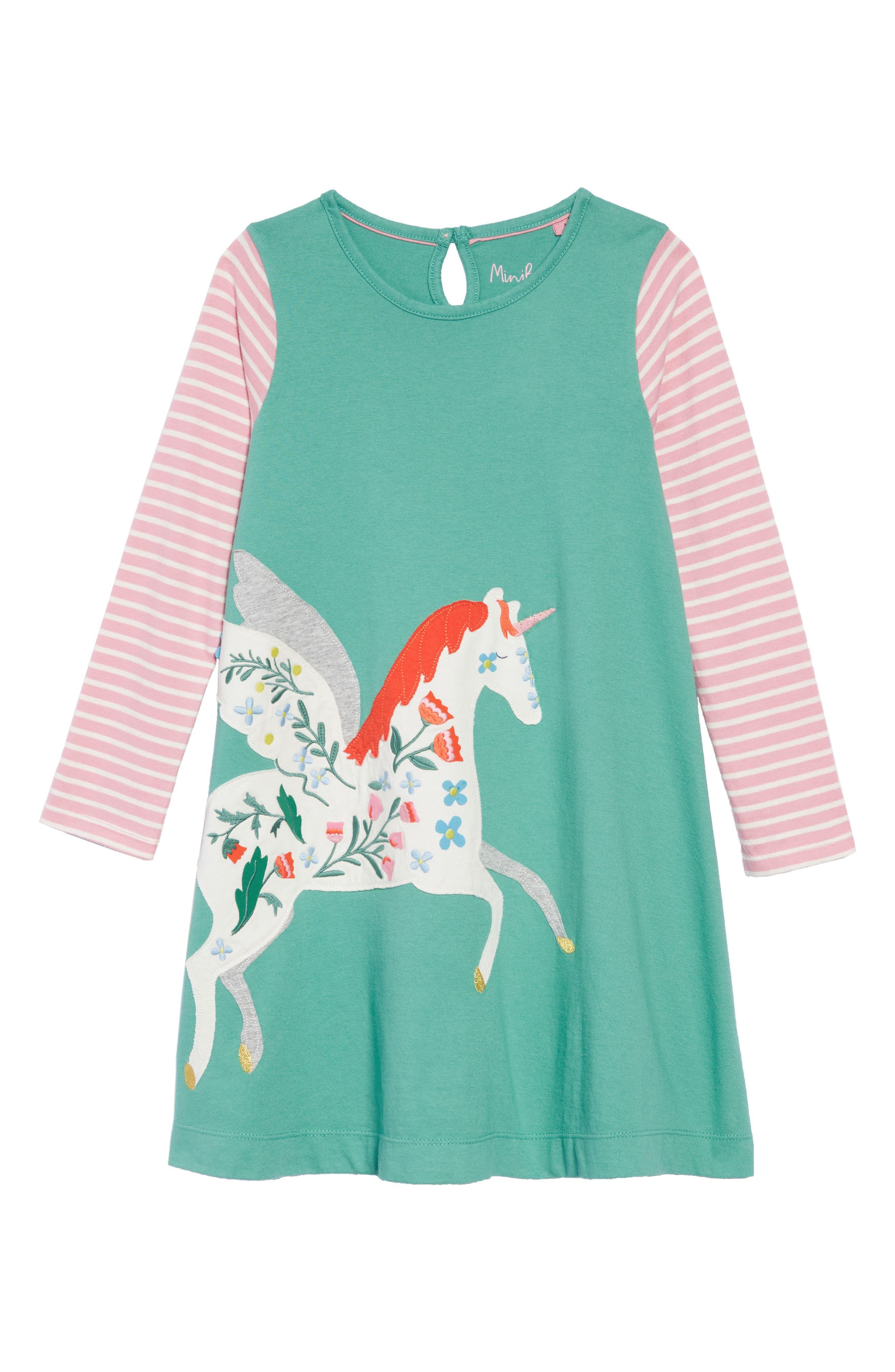 Big Appliqué Dress,                             Main thumbnail 1, color,                             JUNGLE GREEN PEGASUS