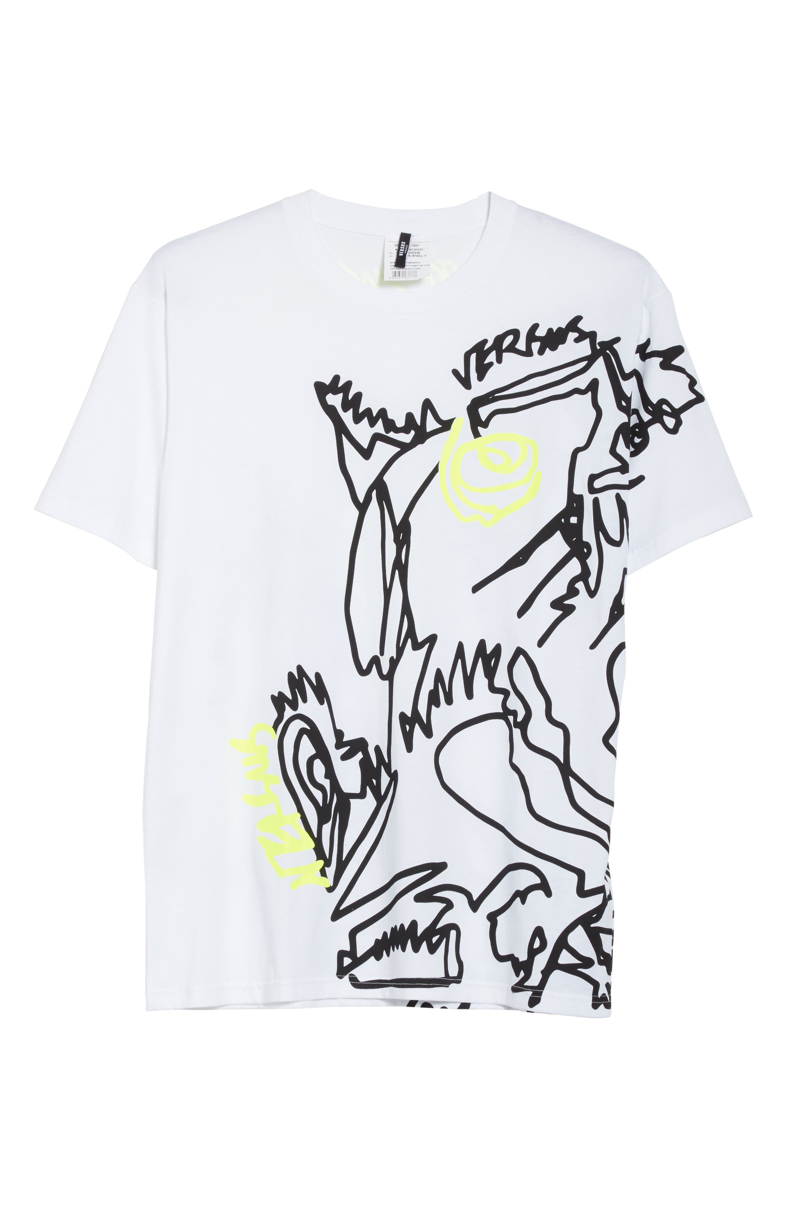VERSUS by Versace Scribble Print T-Shirt,                             Alternate thumbnail 6, color,                             112