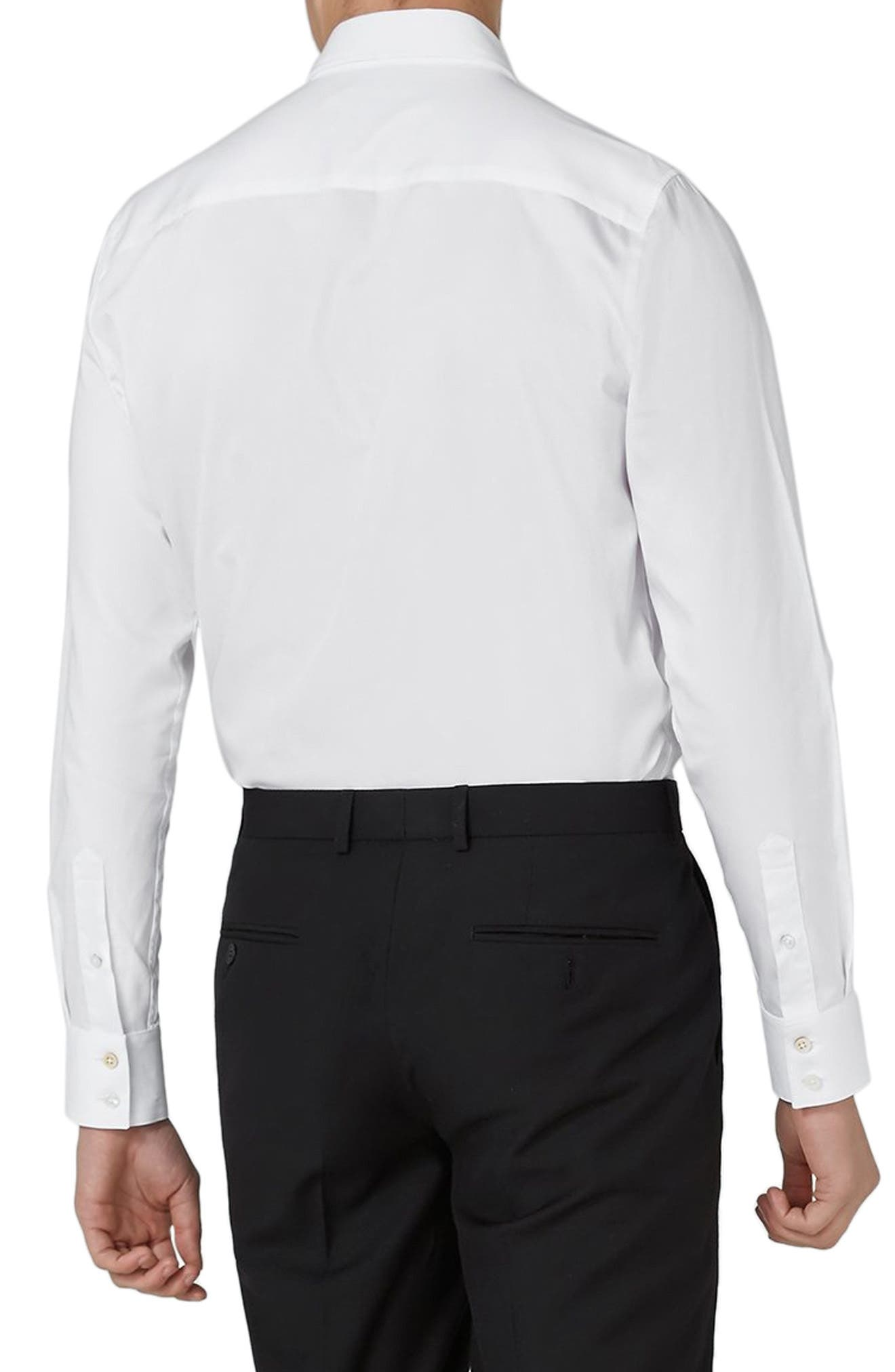 Pleated Tuxedo Shirt,                             Alternate thumbnail 3, color,                             WHITE