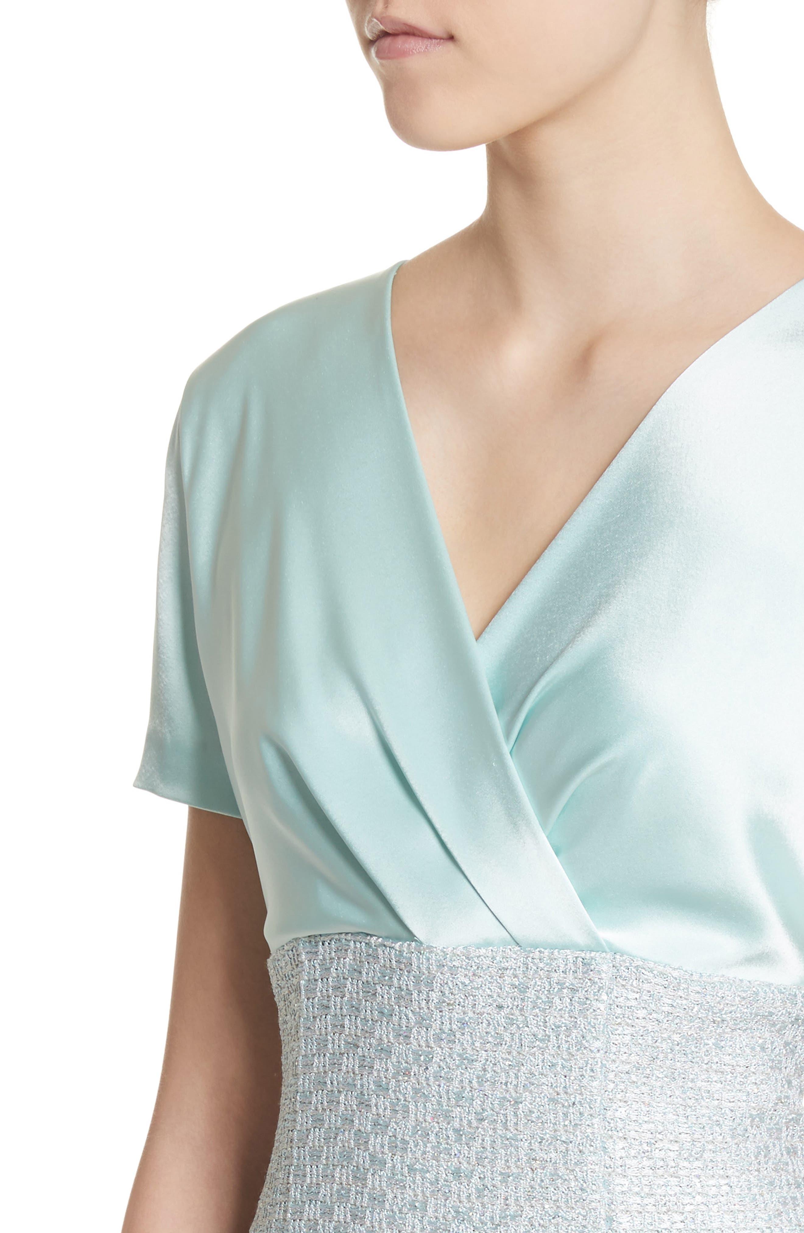 Hansh Satin & Knit Sheath Dress,                             Alternate thumbnail 4, color,                             440