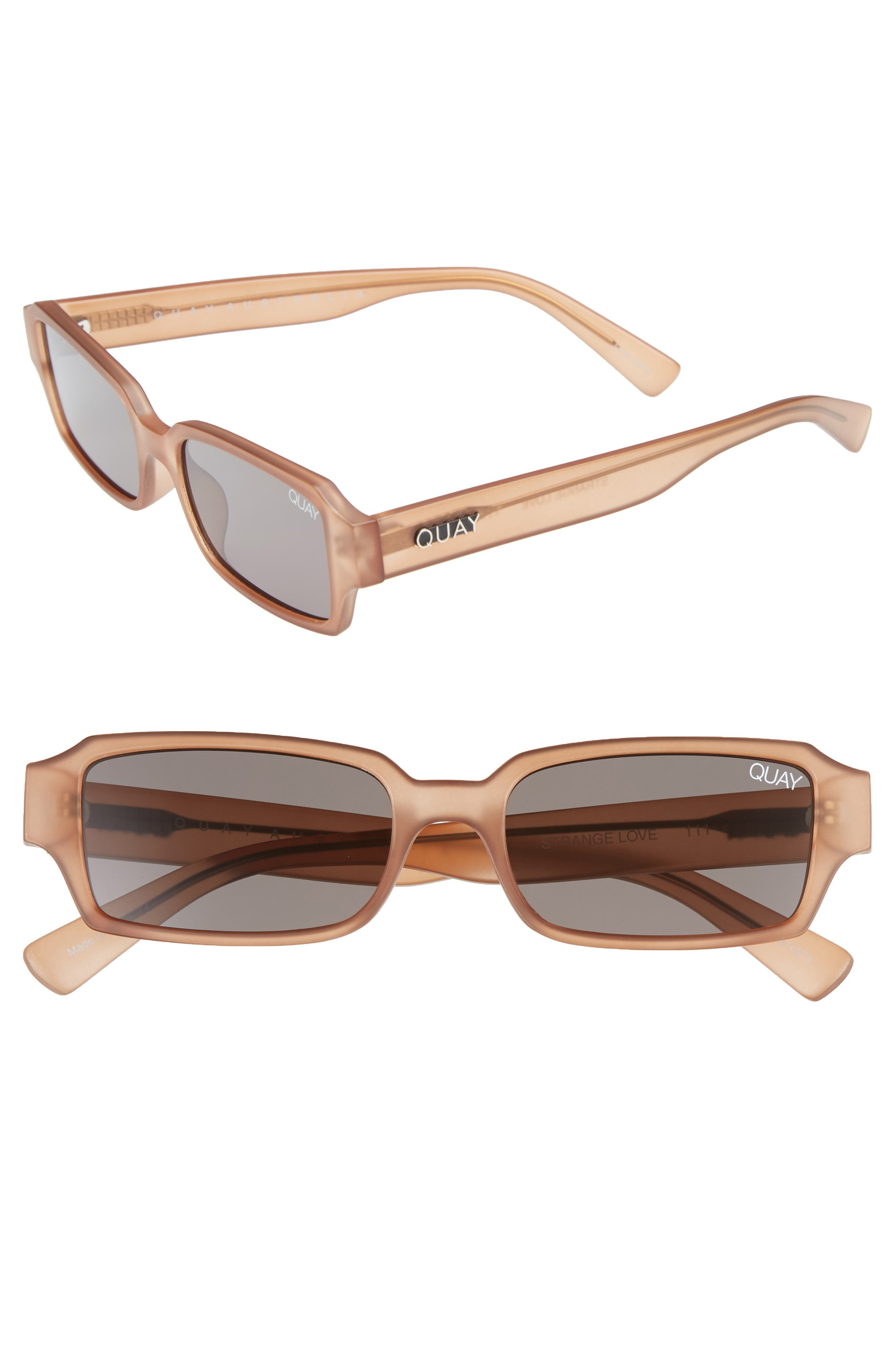 Quay Australia Strange Love 5m Rectangle Sunglasses - Brown/ Smoke