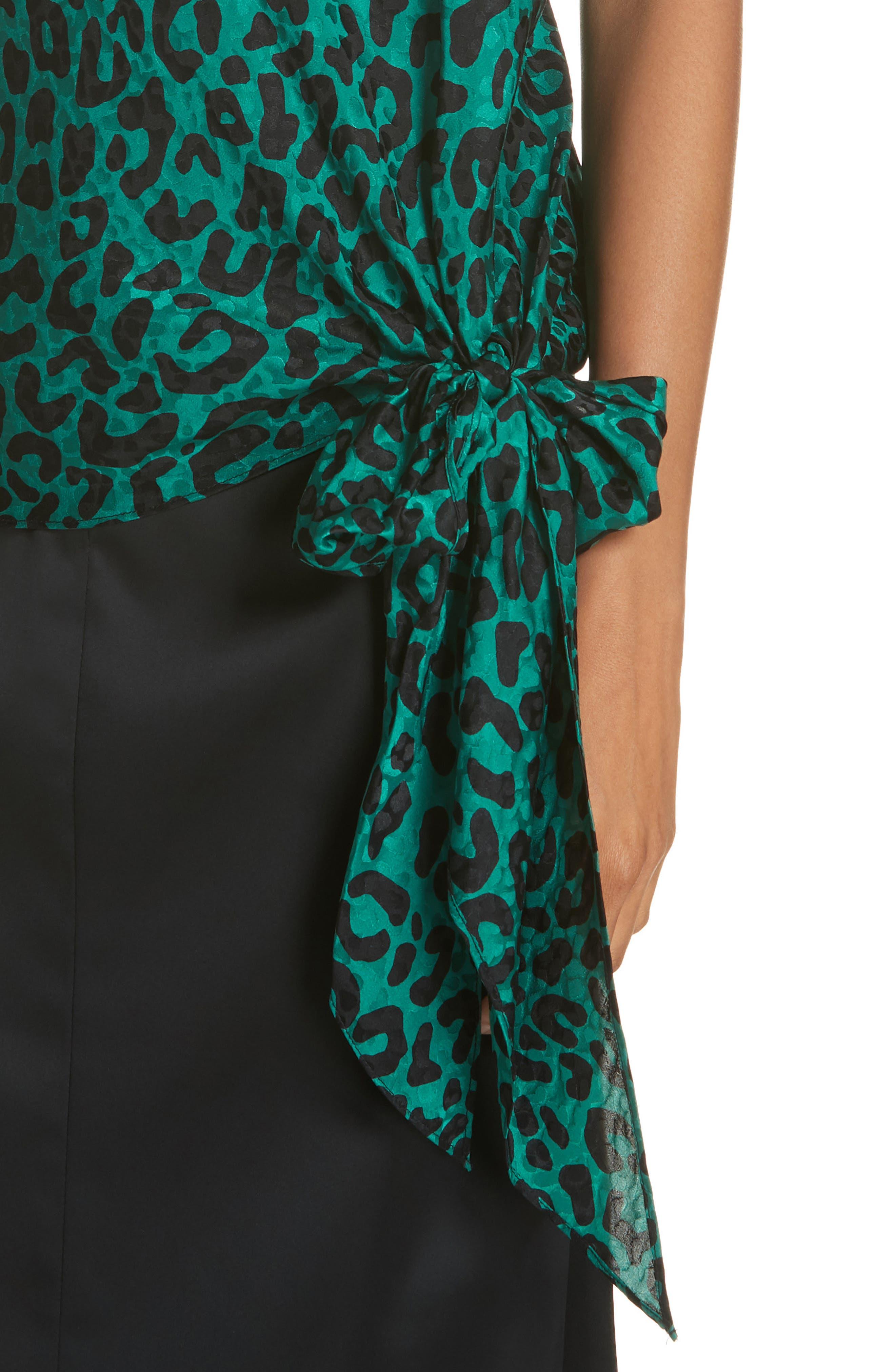 Leopard Print Tie Waist Silk Jacquard Camisole,                             Alternate thumbnail 4, color,                             EMERALD