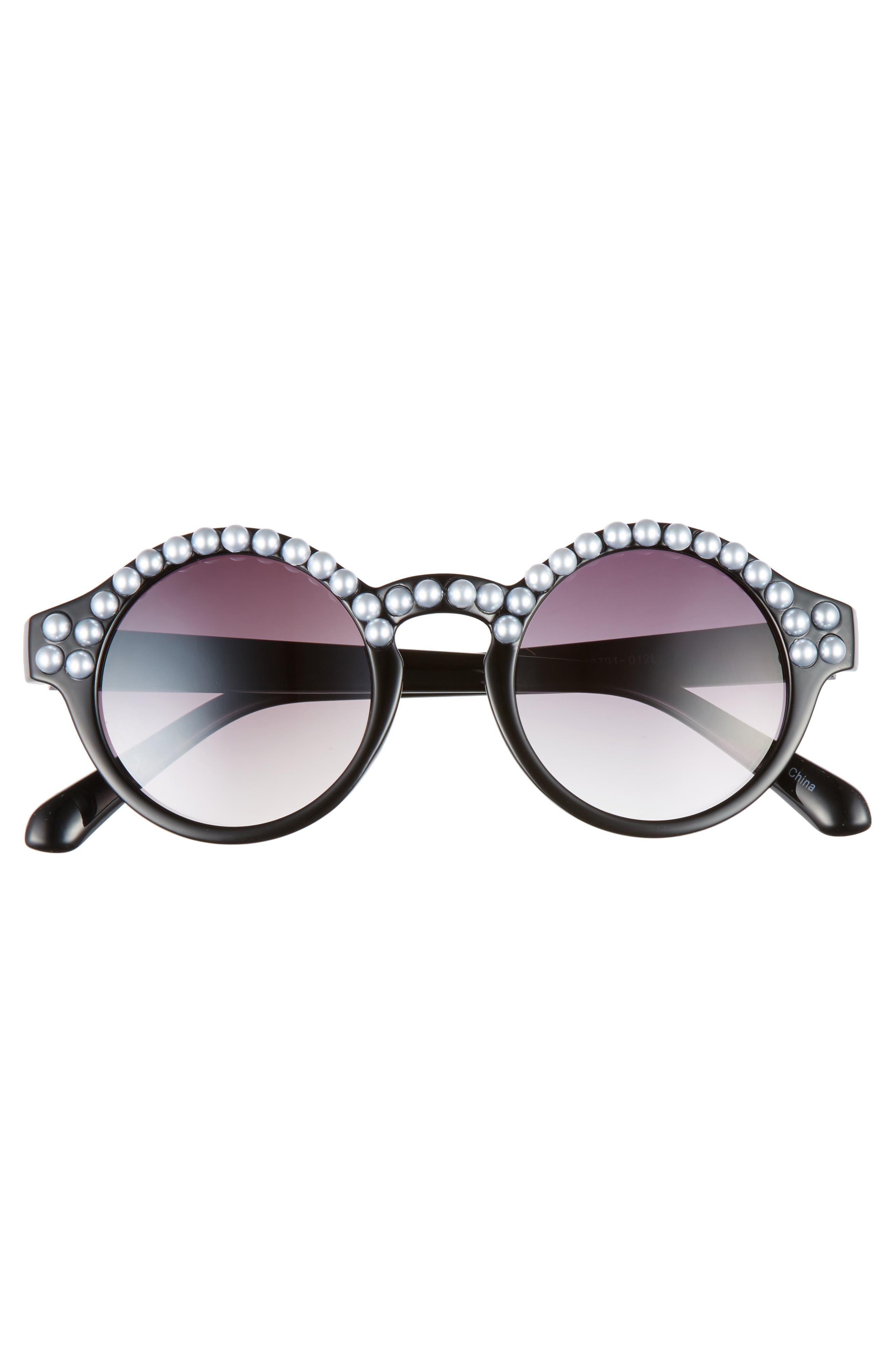 45mm Imitation Pearl Round Sunglasses,                             Alternate thumbnail 3, color,                             002